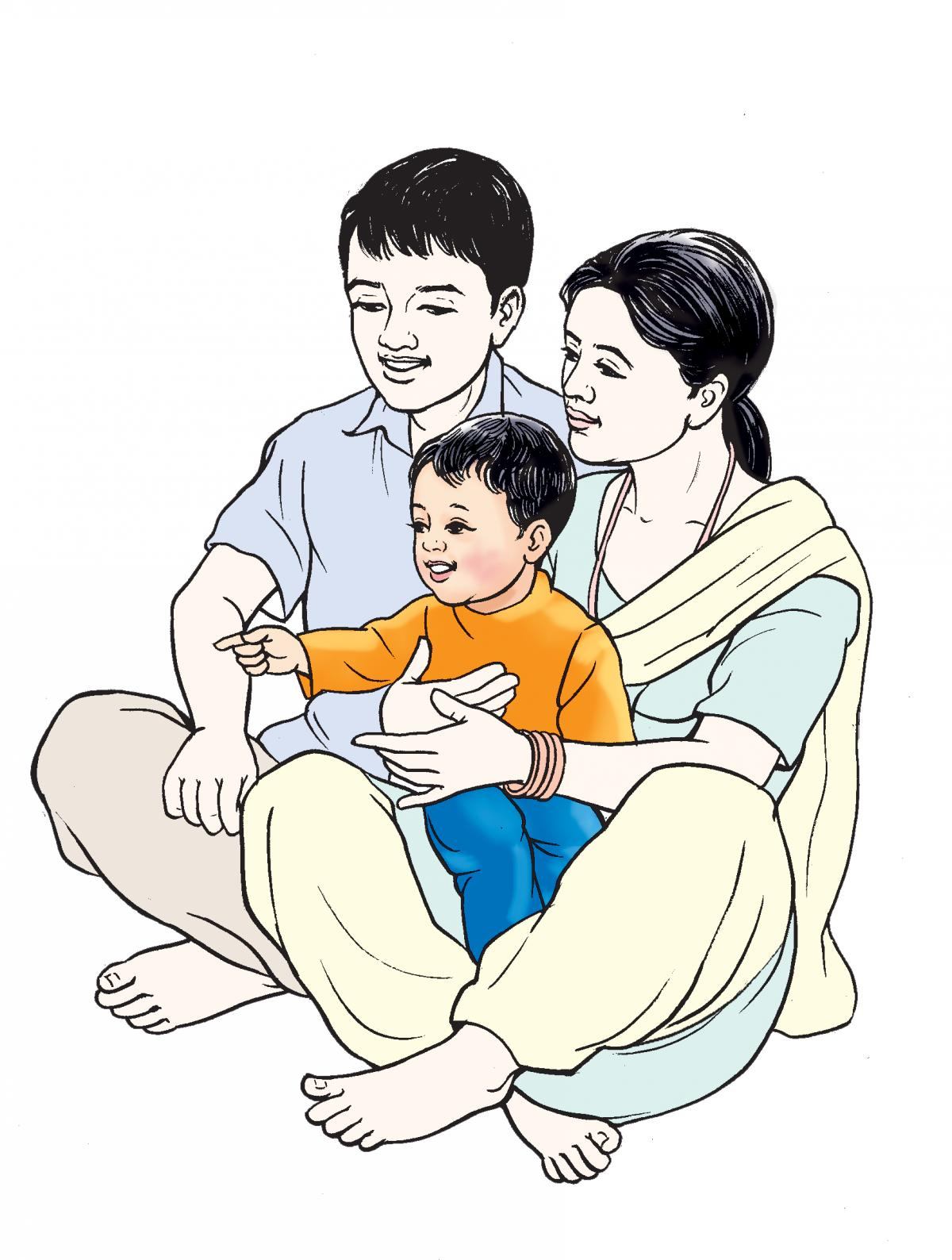 Family - Baby with mother and father - 01 - Nepal