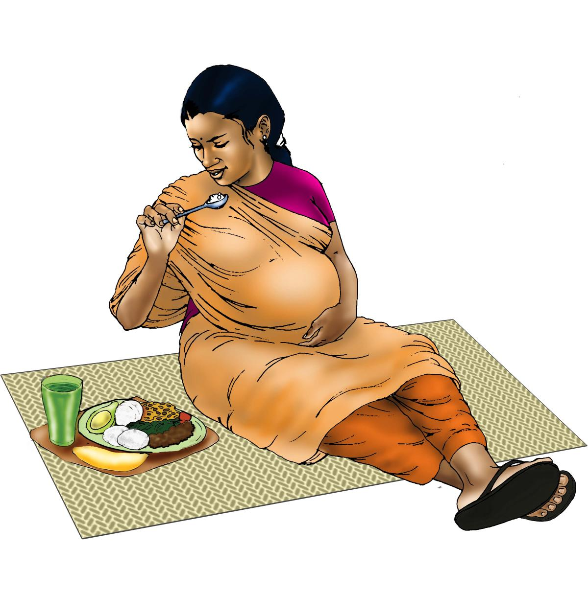 Maternal nutrition - Pregnant woman eating healthy meal - 01 - India