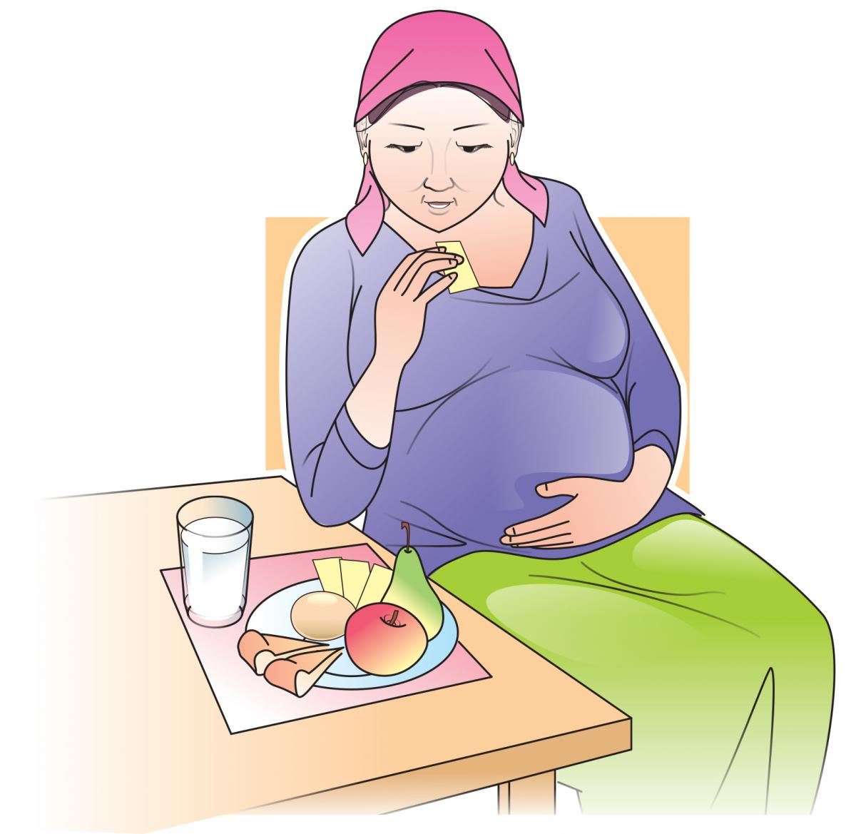 Maternal Nutrition - Pregnant woman eating healthy meal - 01 - Kyrgyz Republic