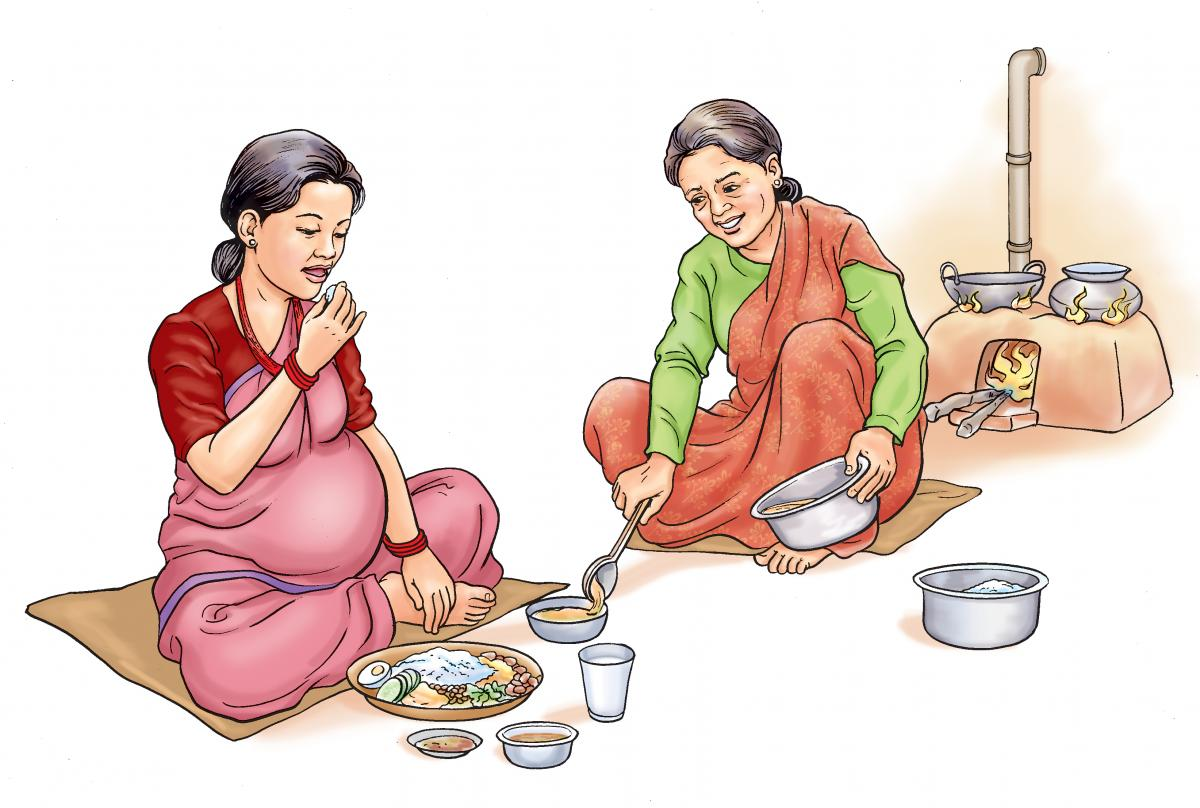 Maternal Nutrition - Family supports pregnant woman eating a healthy meal - 01A - Nepal