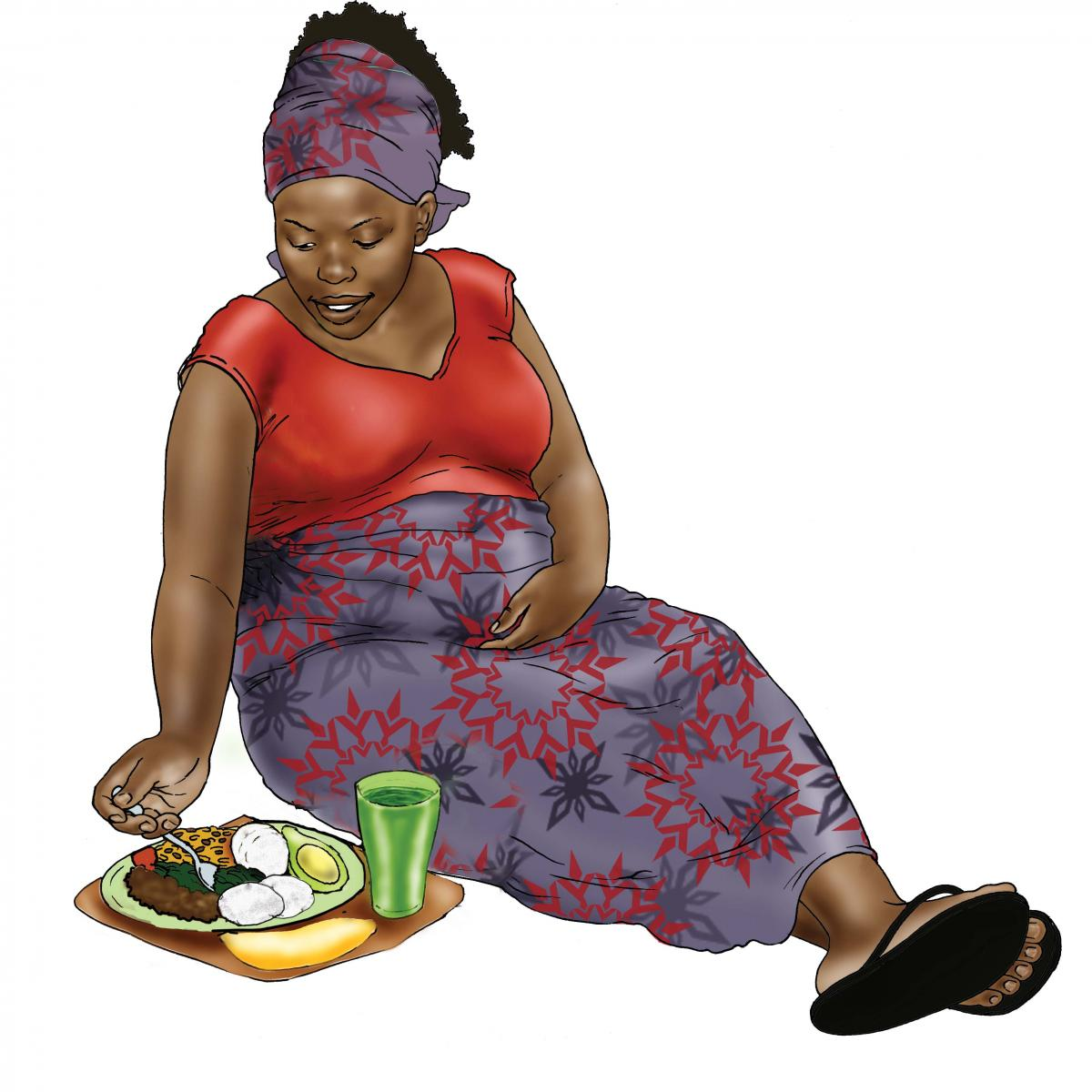 Maternal Nutrition - Pregnant woman eating healthy meal - 02 - Nigeria