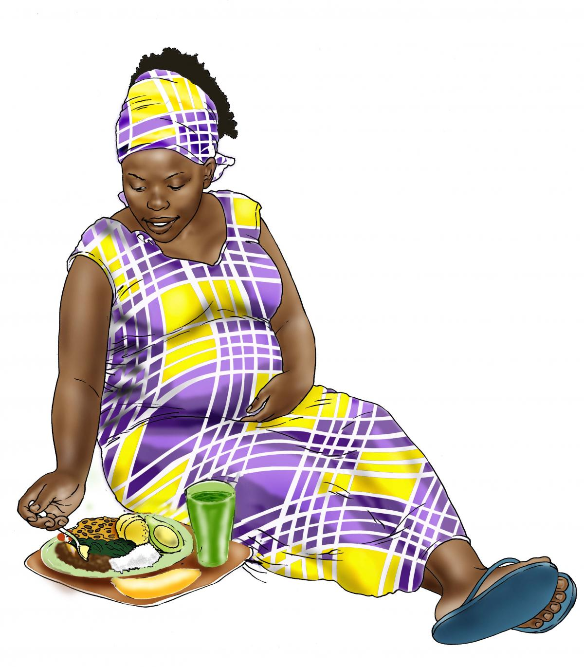 Maternal nutrition - Pregnant woman eating healthy meal - 05 - Nigeria