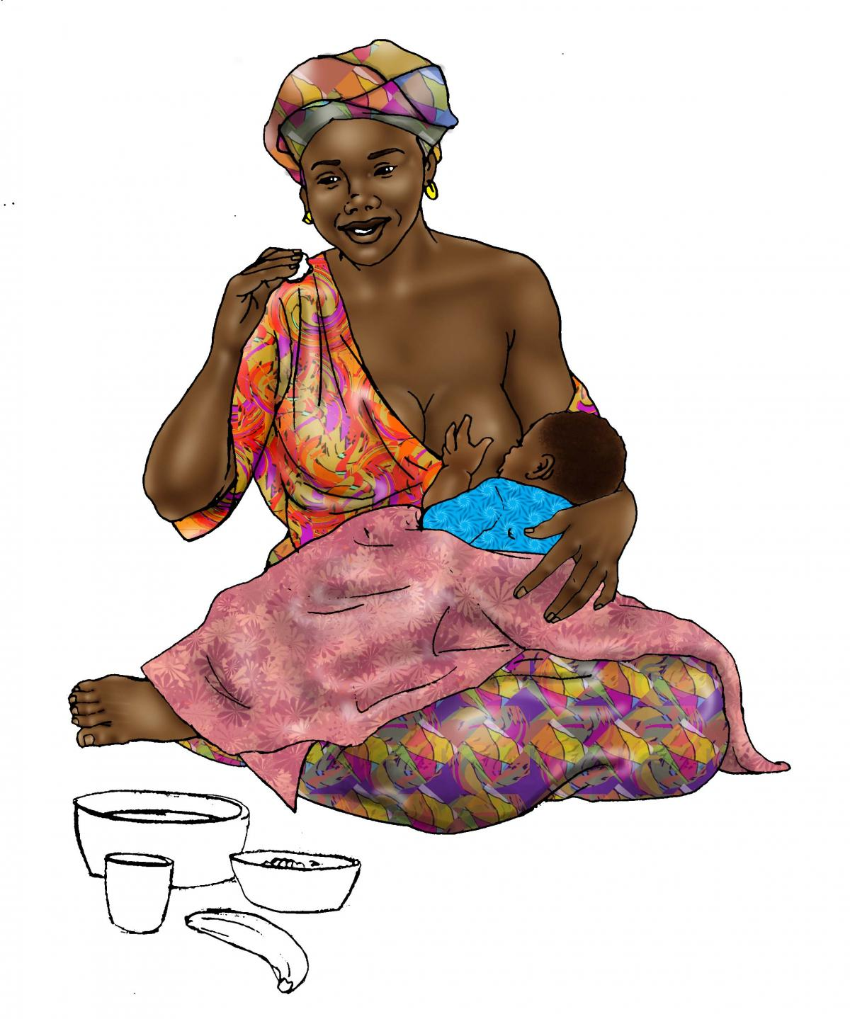 Maternal Nutrition - Breastfeeding mother eating - 07 - Non-country specific