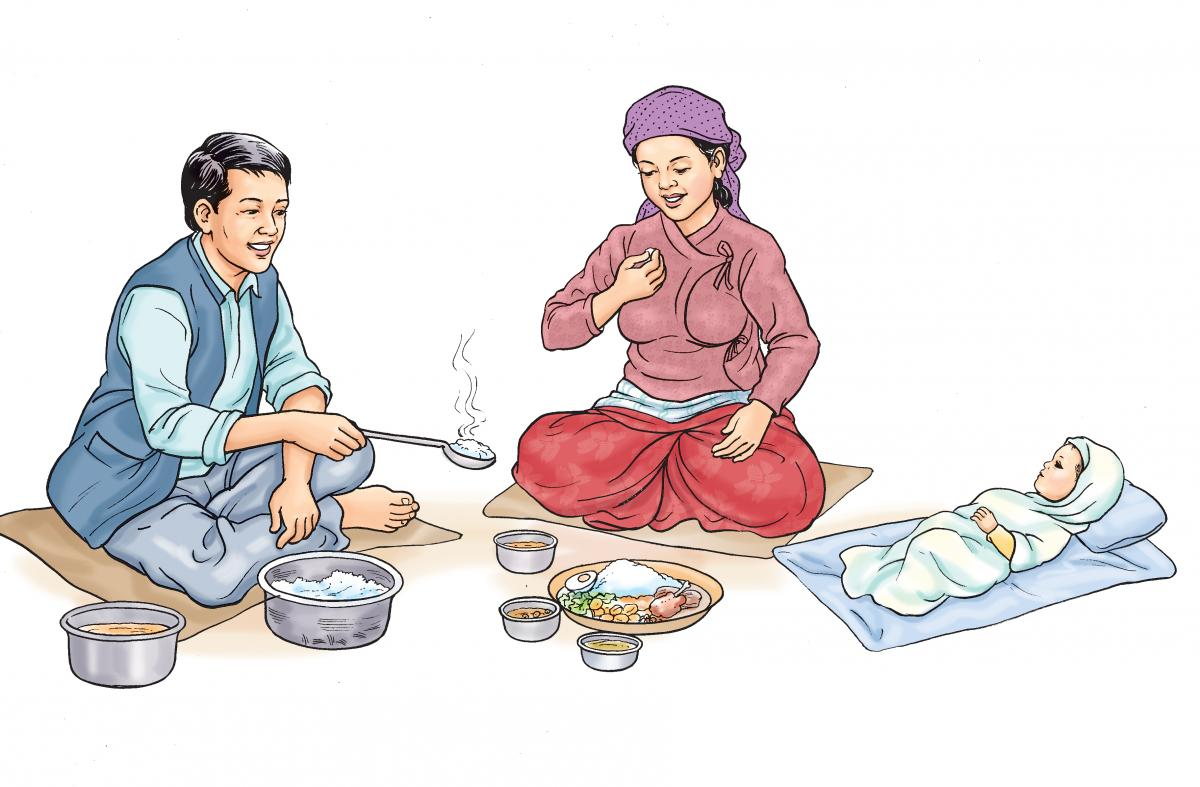 Maternal Nutrition - Mother eating a healthy meal - 01 - Nepal