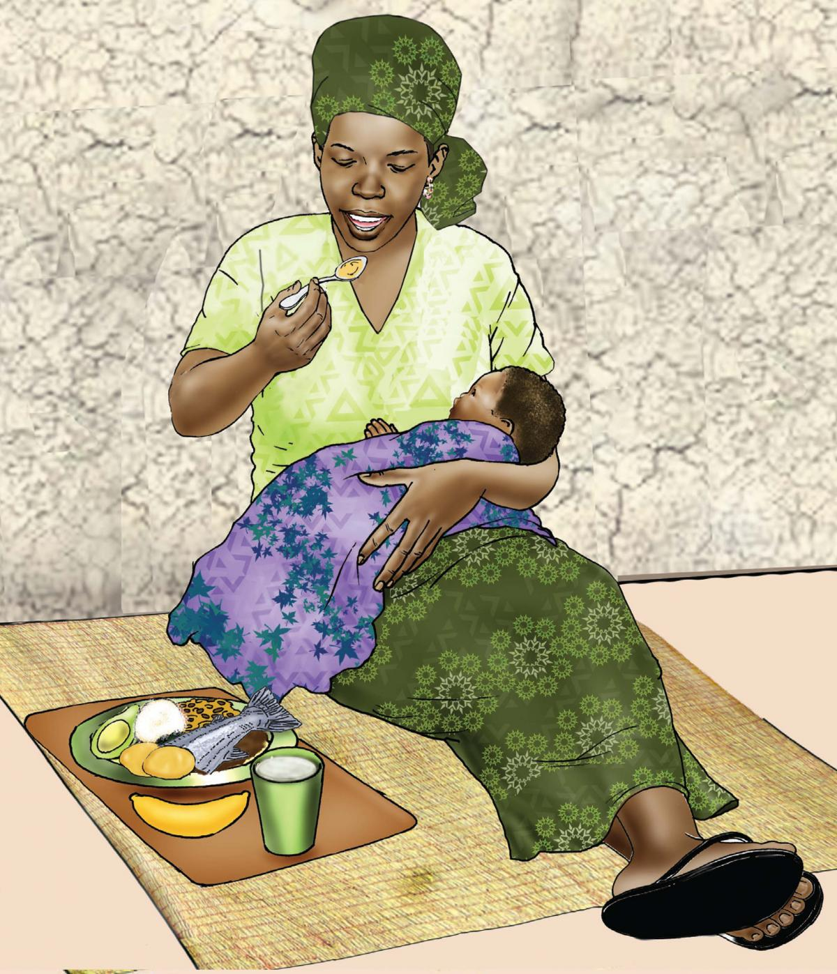 Maternal Nutrition - Mother eating healthy meal - 02 - Niger