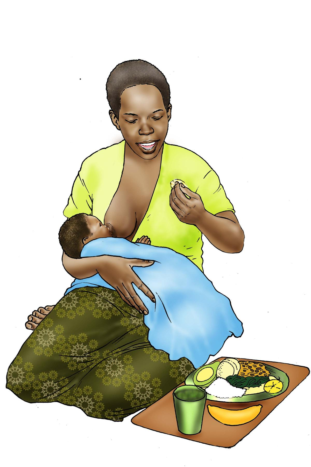 Maternal nutrition - Breastfeeding mother eating - 03 - Nigeria
