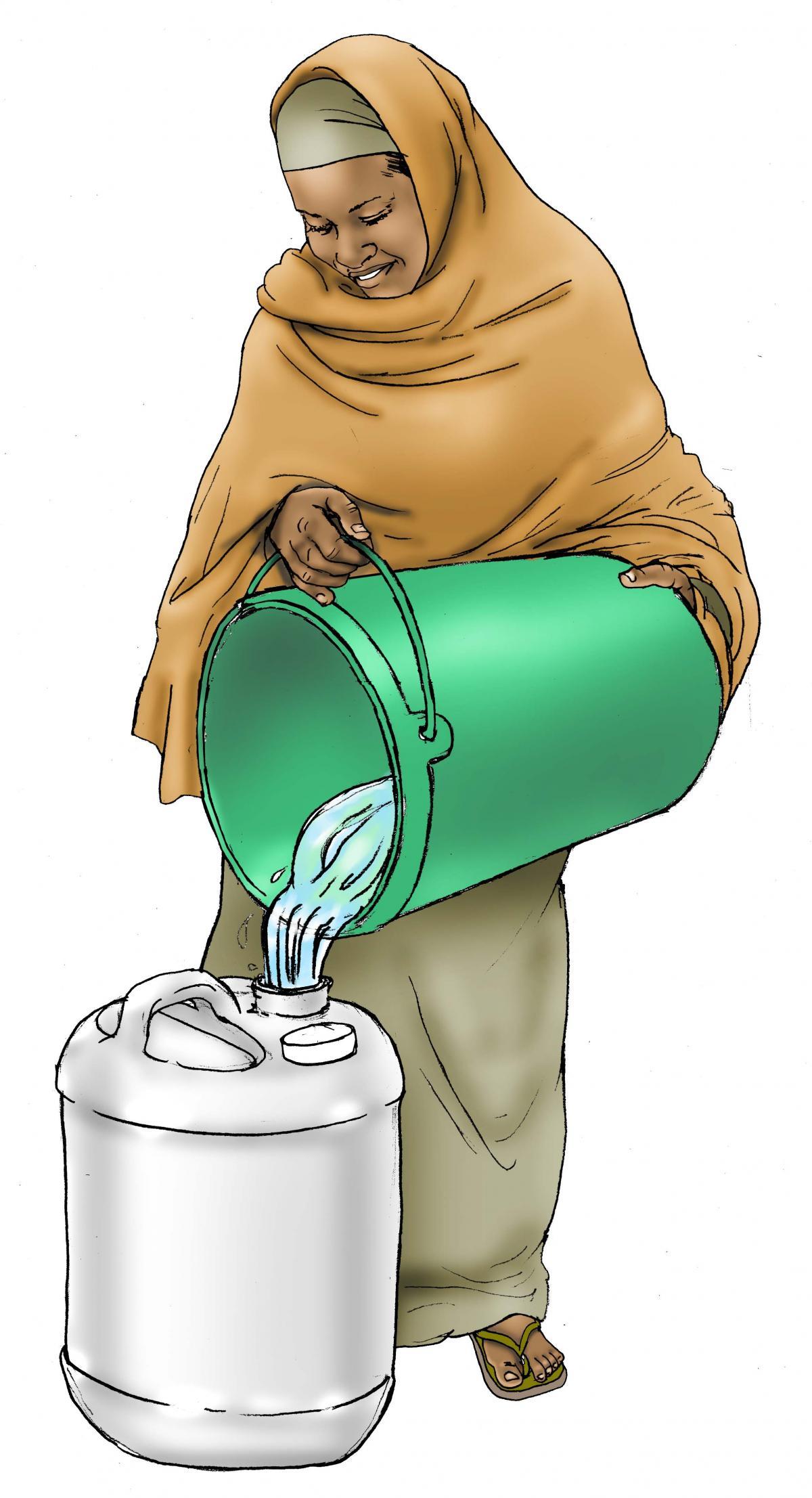 Sanitation - Woman filtering water - 04 - Kenya Dadaab