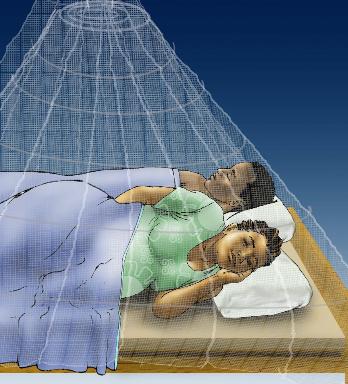 Malaria - Pregnant woman sleeping under mosquito net - 05 - Non-country specific