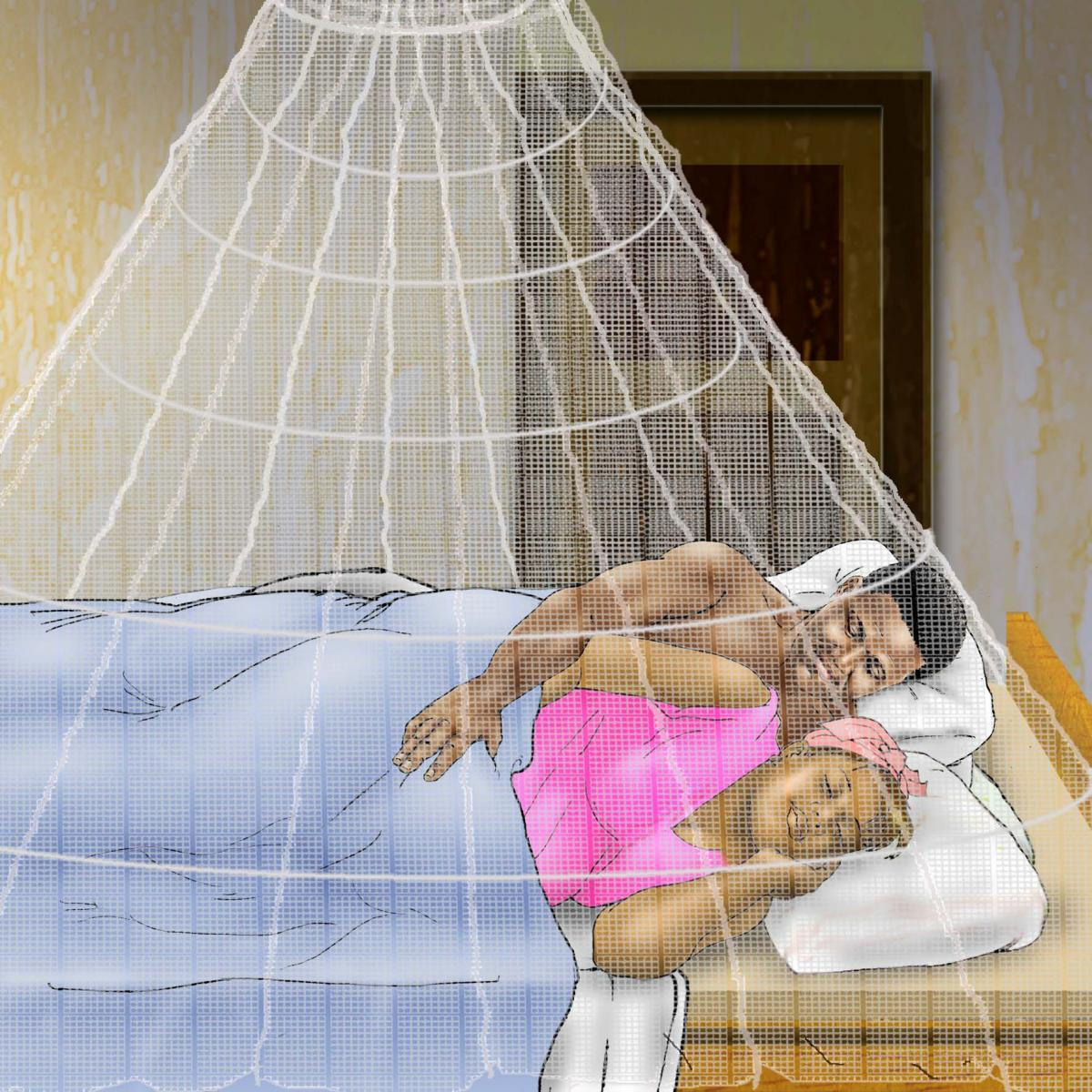 Malaria - Couple sleeping under mosquito net - 06 - Non-country specific