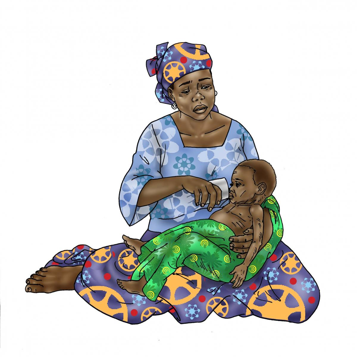 Sick Baby Nutrition - Mother cup feeding sick baby 0-24 mo - 02 - Niger