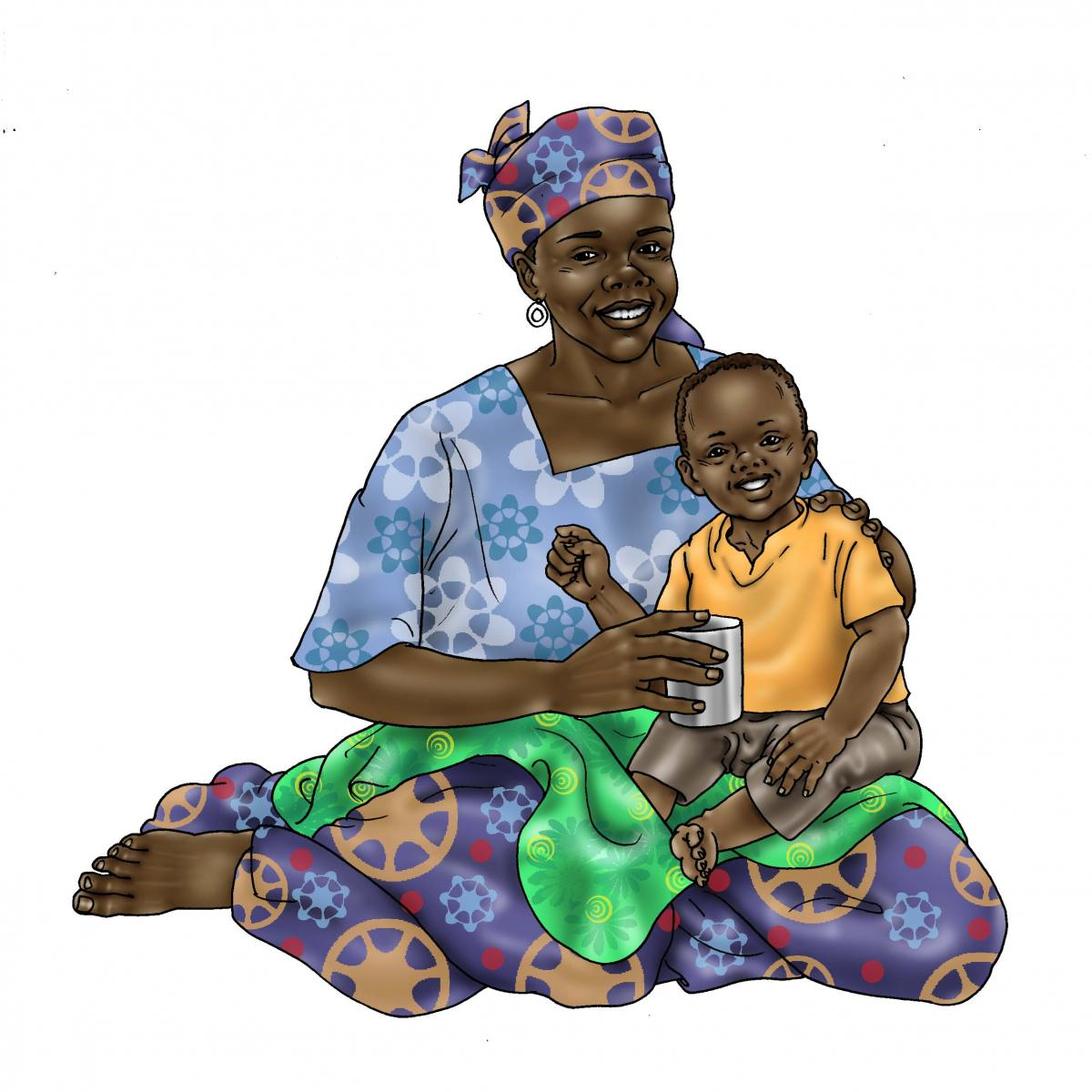 Cup feeding - Healthy mother and child 24 mo - 06 - Niger