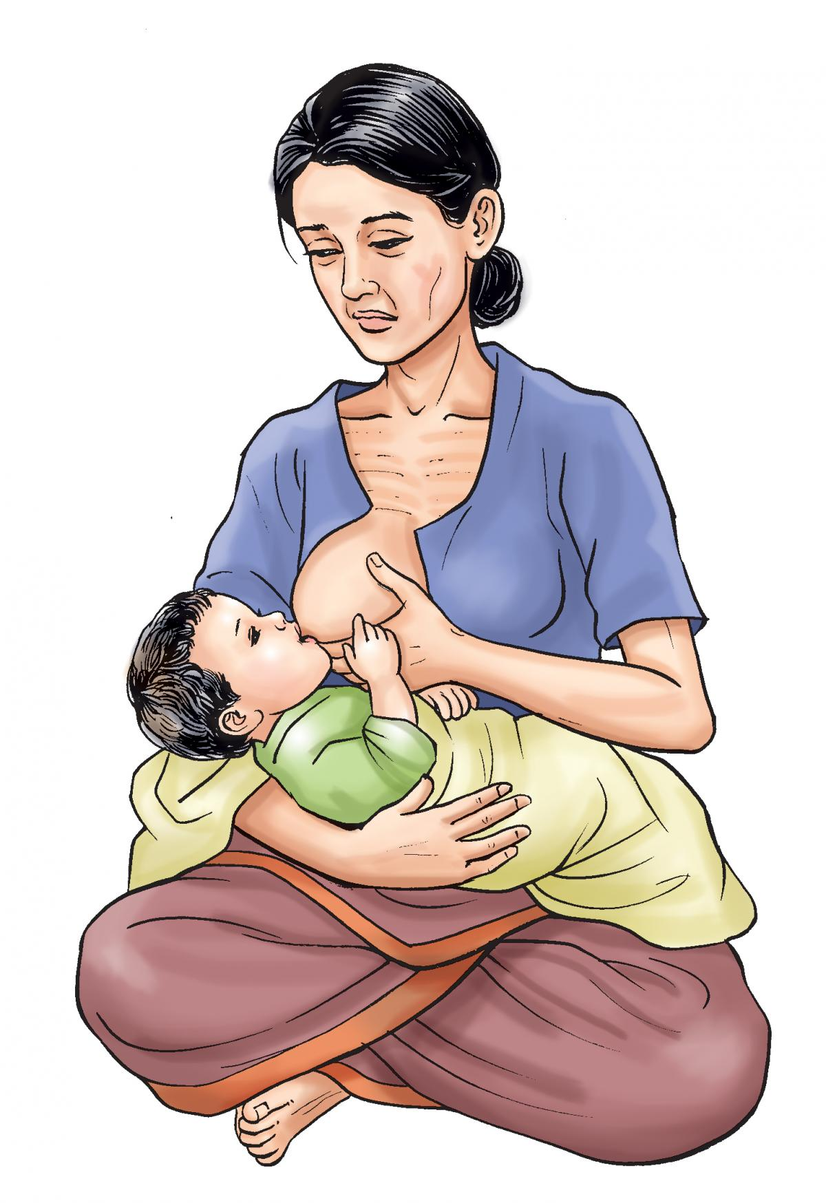 Breastfeeding - Malnourished mother breastfeeding - 01 - Nepal