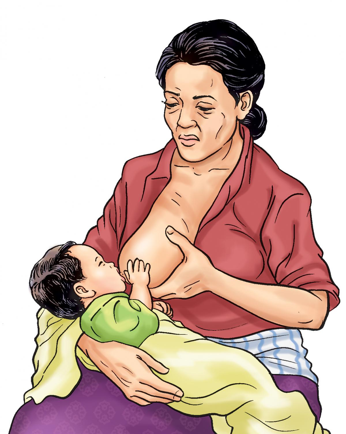 Breastfeeding - Malnourished mother breastfeeding - 02 - Nepal