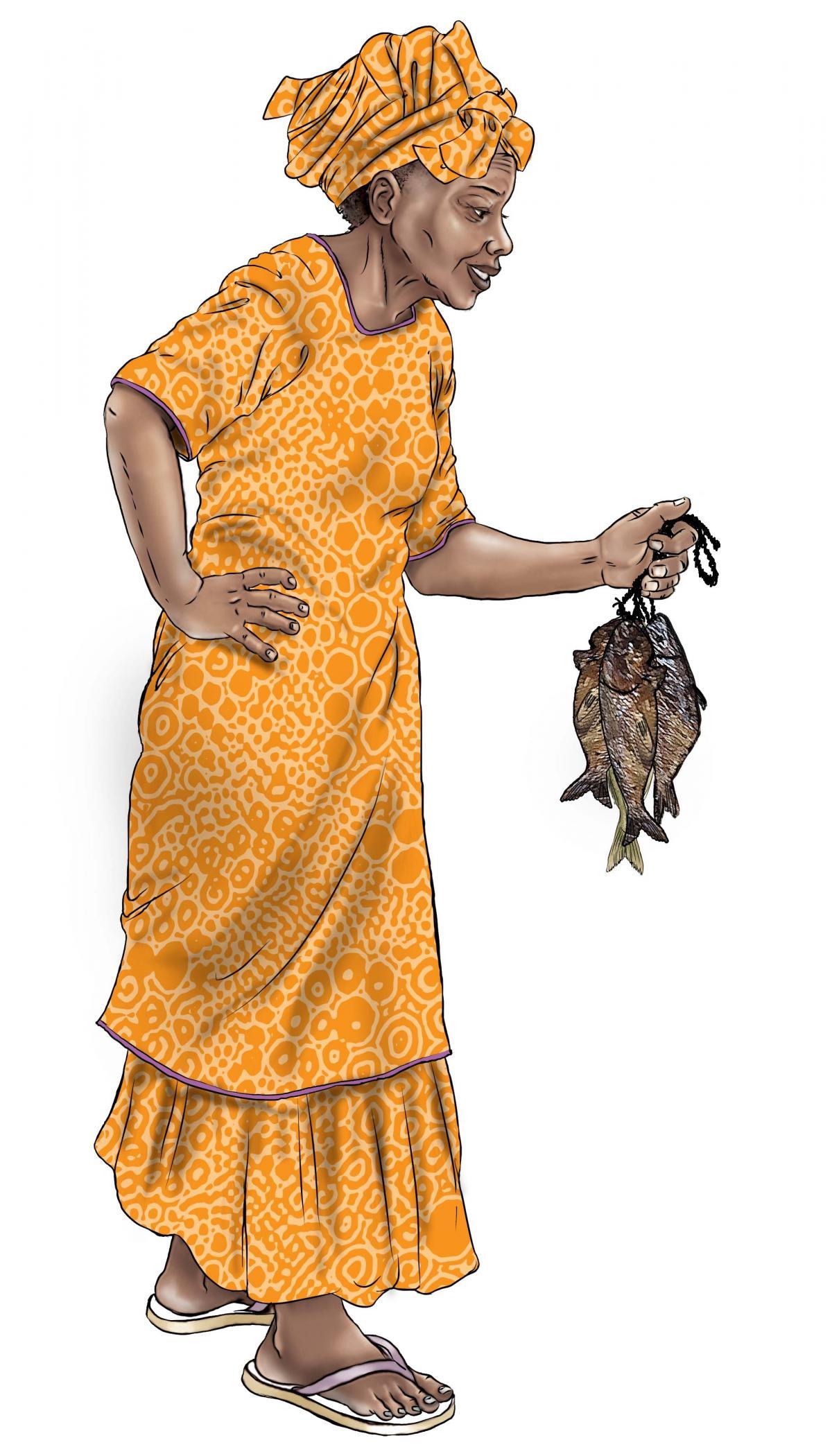 Food - Grandmother with fish - 00B - Sierra Leone