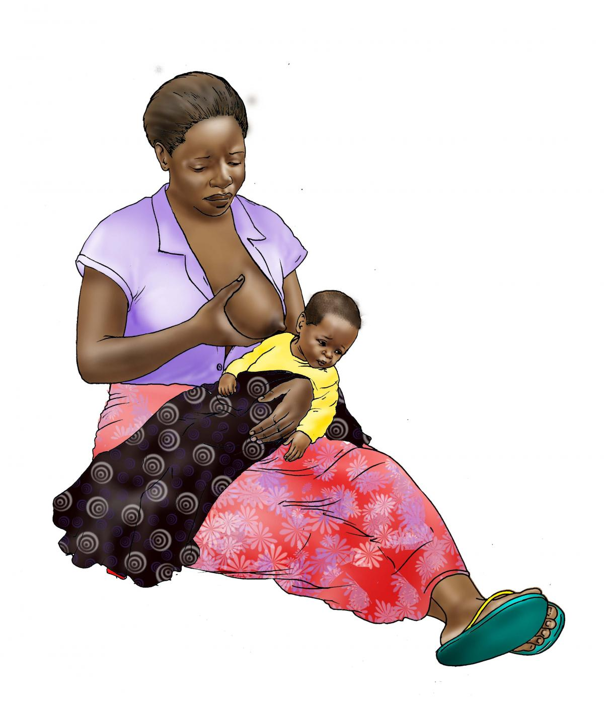 Sick Baby Nutrition - Sick baby refuses to breastfeed - sitting - 01B - Nigeria