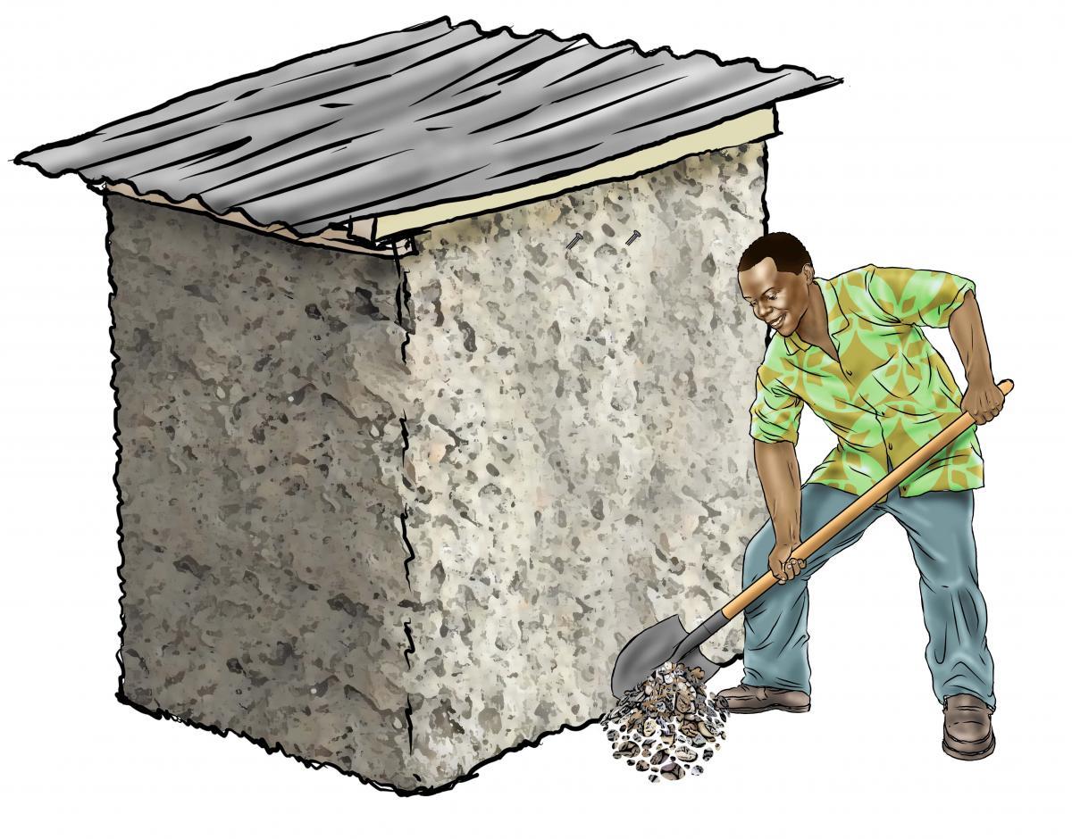 Hygiene - Shoveling gravel for tippy tap - 03 - Sierra Leone
