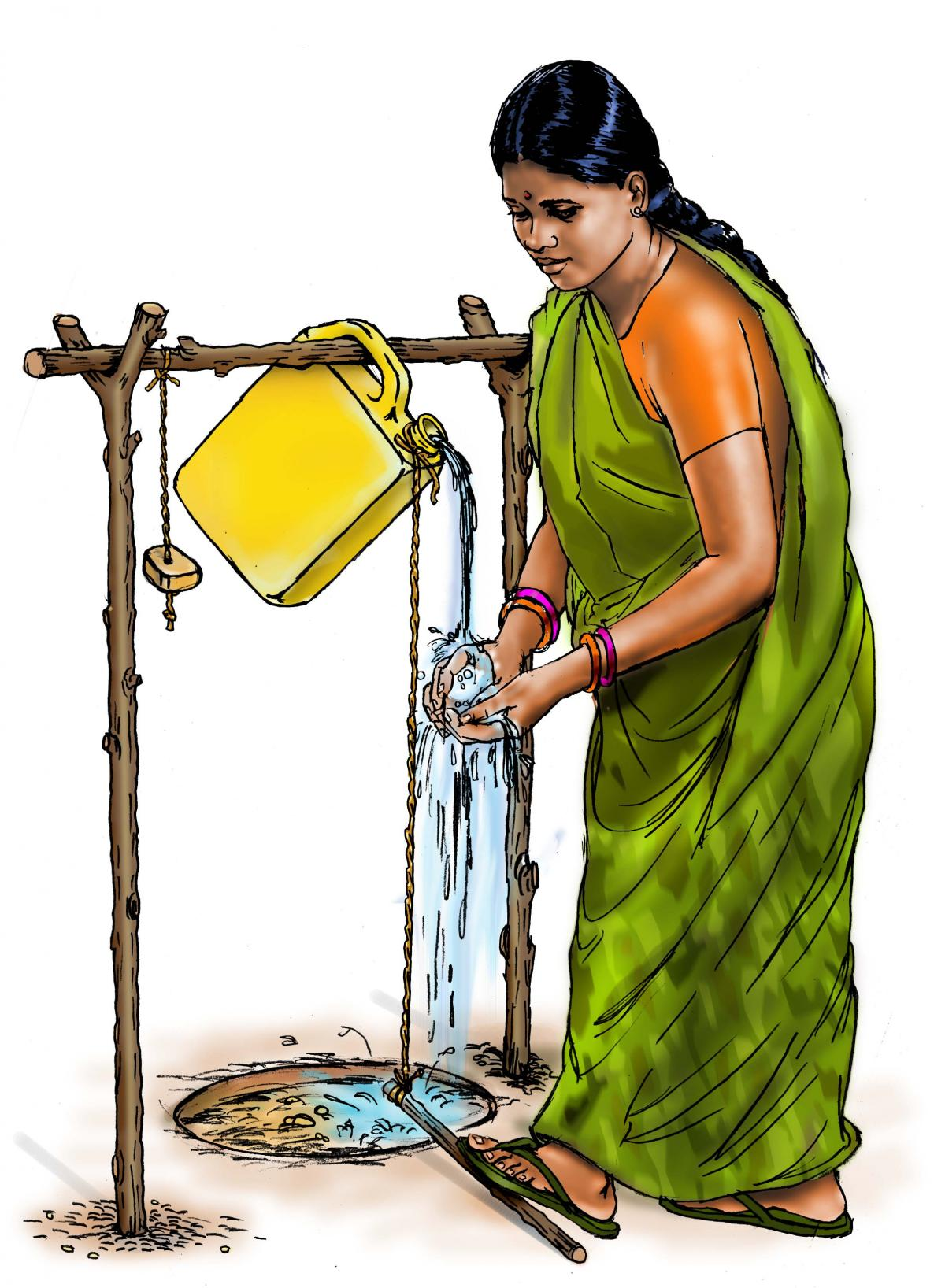 Hygiene - Woman washing hands - 00 - India