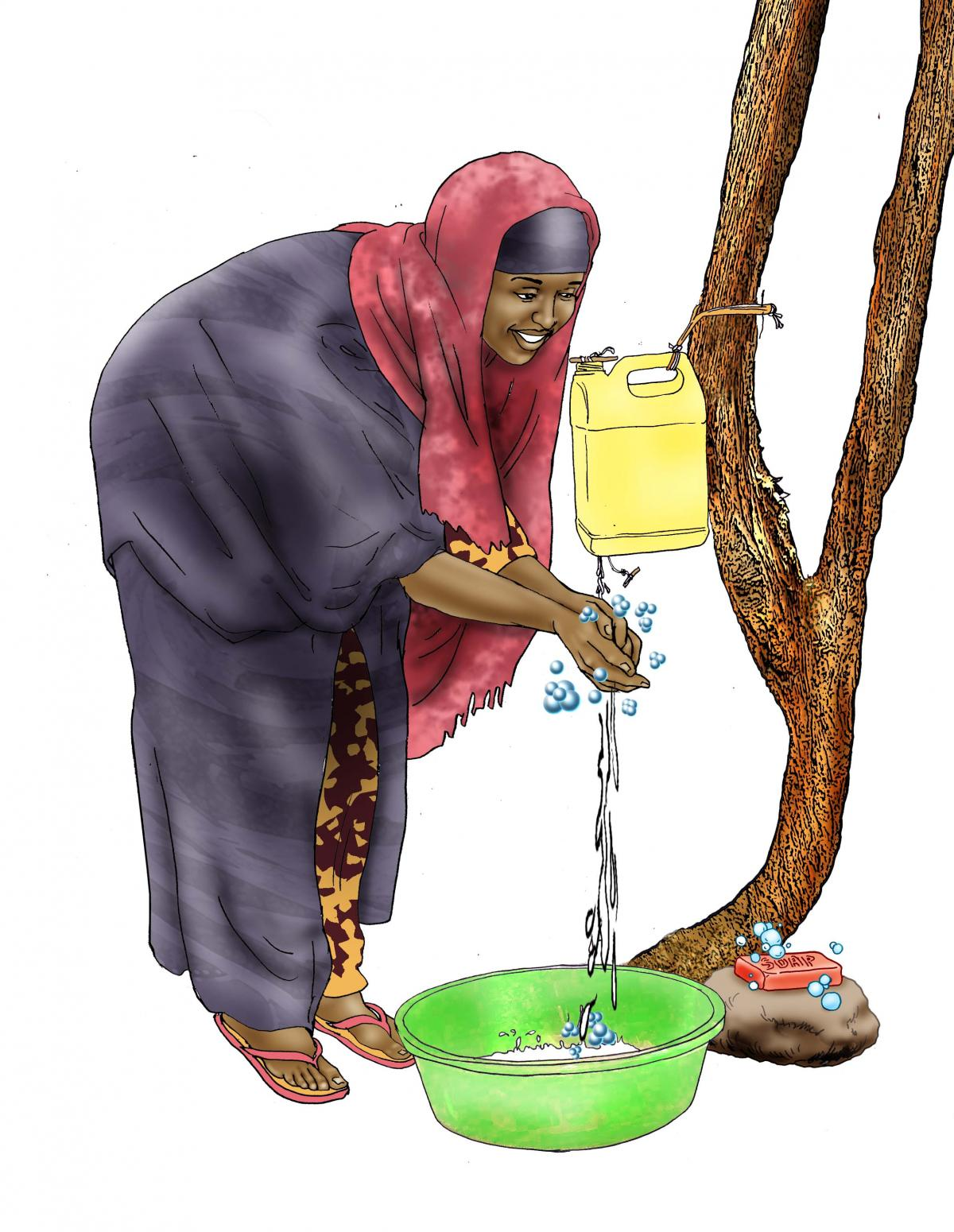 Sanitation - Woman washing hands - 04 - Kenya Dadaab