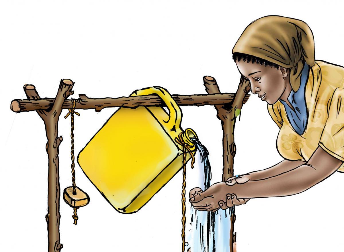 Hygiene - Using a tippy tap - 01B - Rwanda