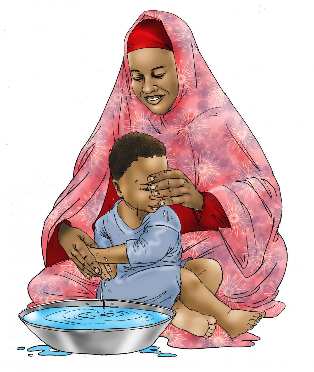 Hygiene - Mother teaches child to wash hands - 00 - Kenya Dadaab