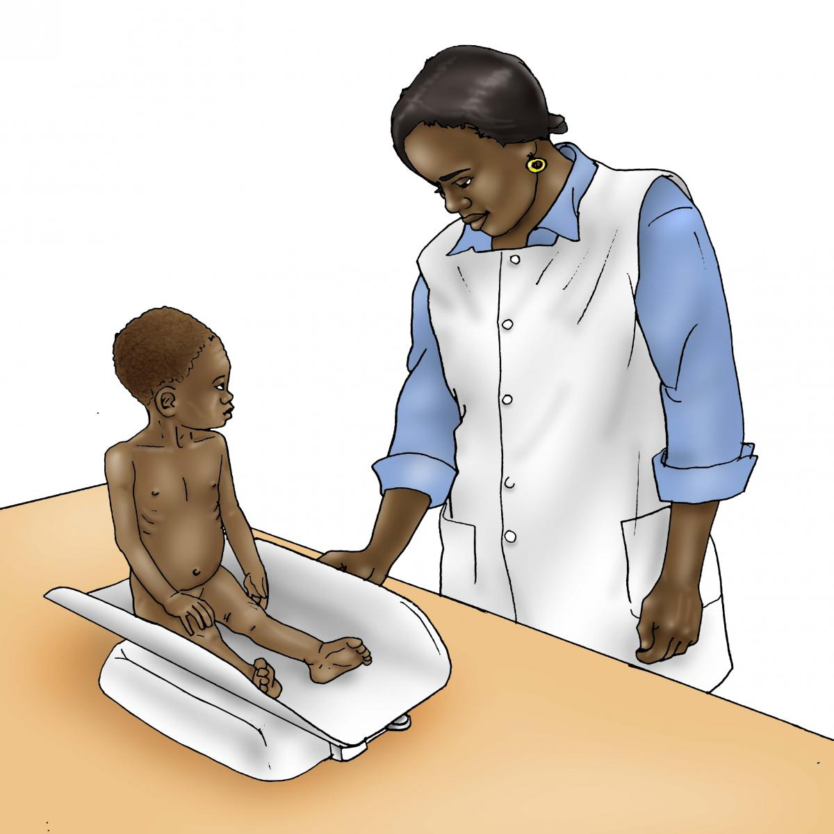 Sick Baby Health Care - Sick baby being weighed at clinic 9-12 mo - 02B - Non-country specific