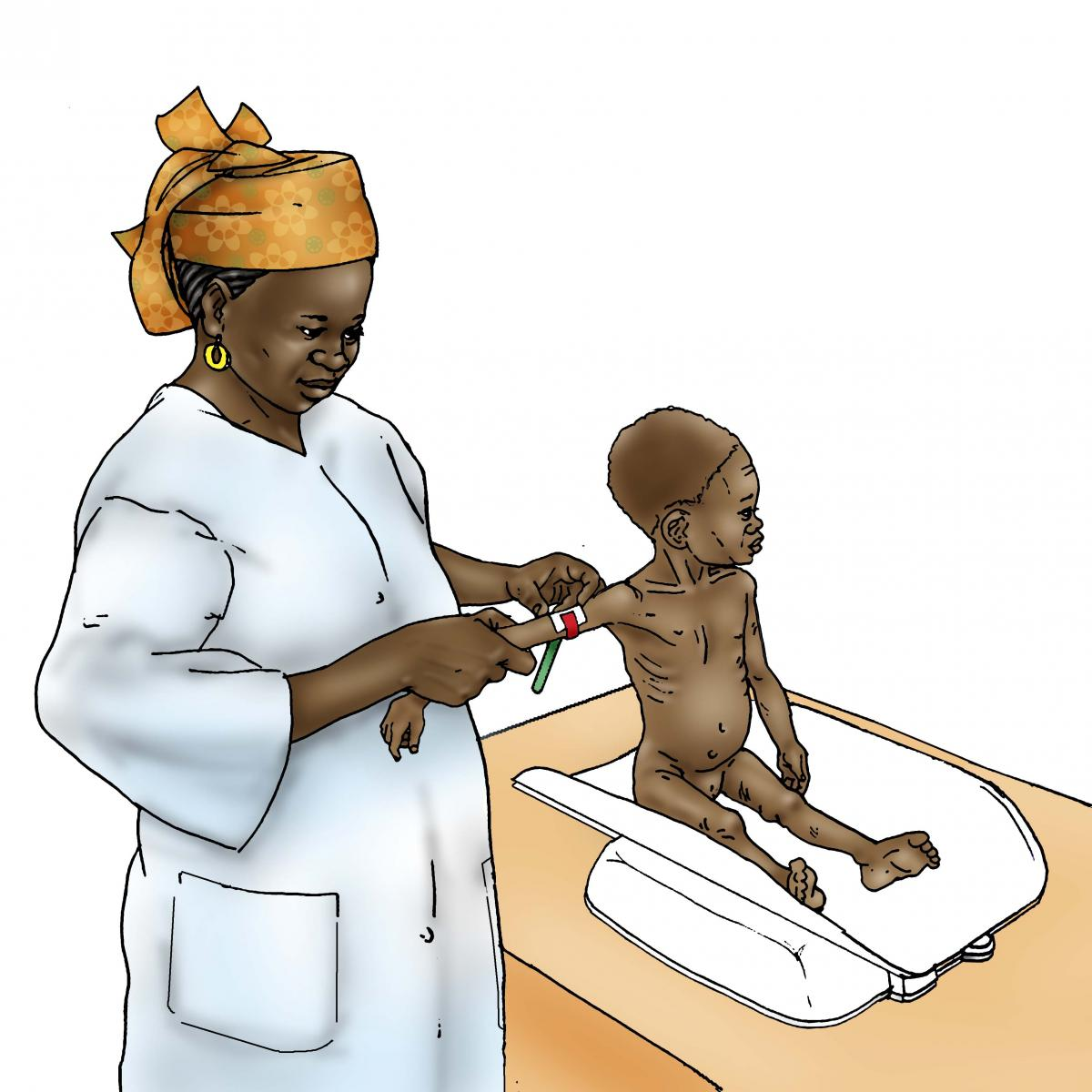 Sick Baby Health Care - Sick baby being weighed at clinic - 03A - Niger