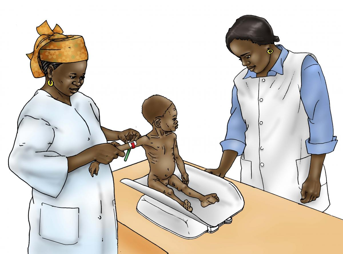 Sick Baby Health Care - Sick baby being weighed at clinic - 03B - Niger