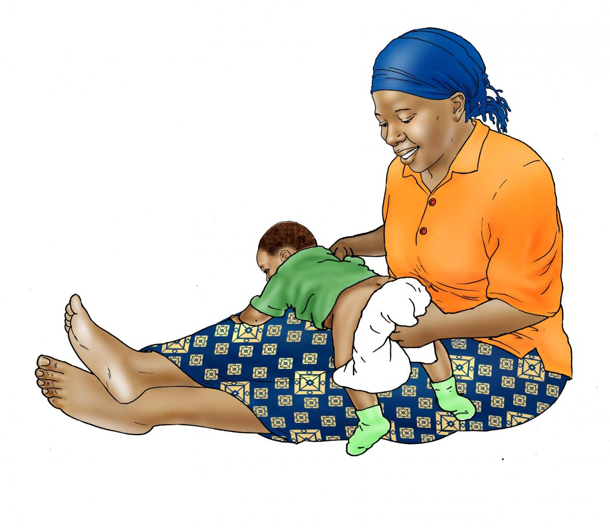 Hygiene - Mother washing baby's bottom - 03 - Non-country specific