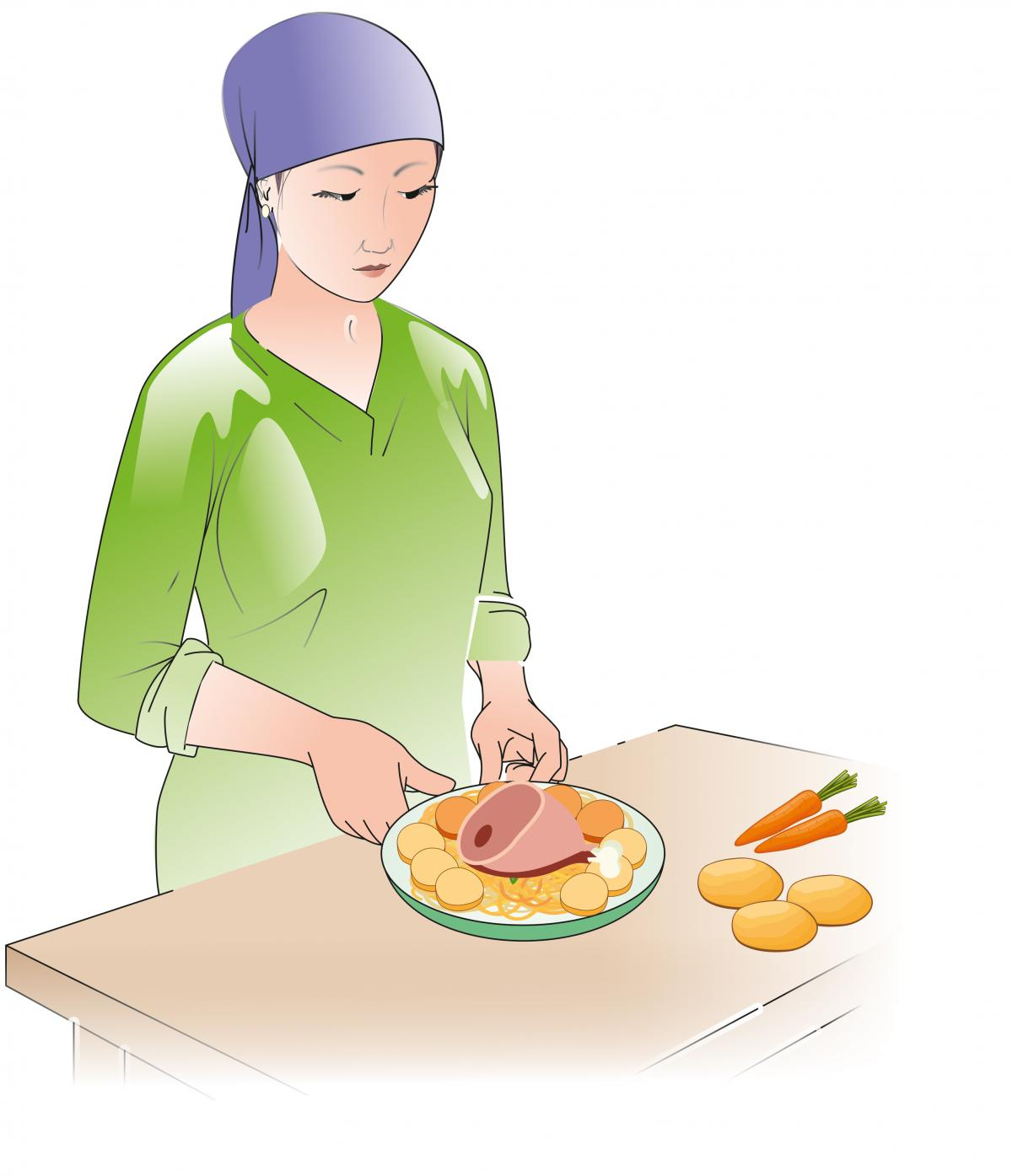 Food Practices - Woman preparing food hygienically  - 01 - Kyrgyz Republic