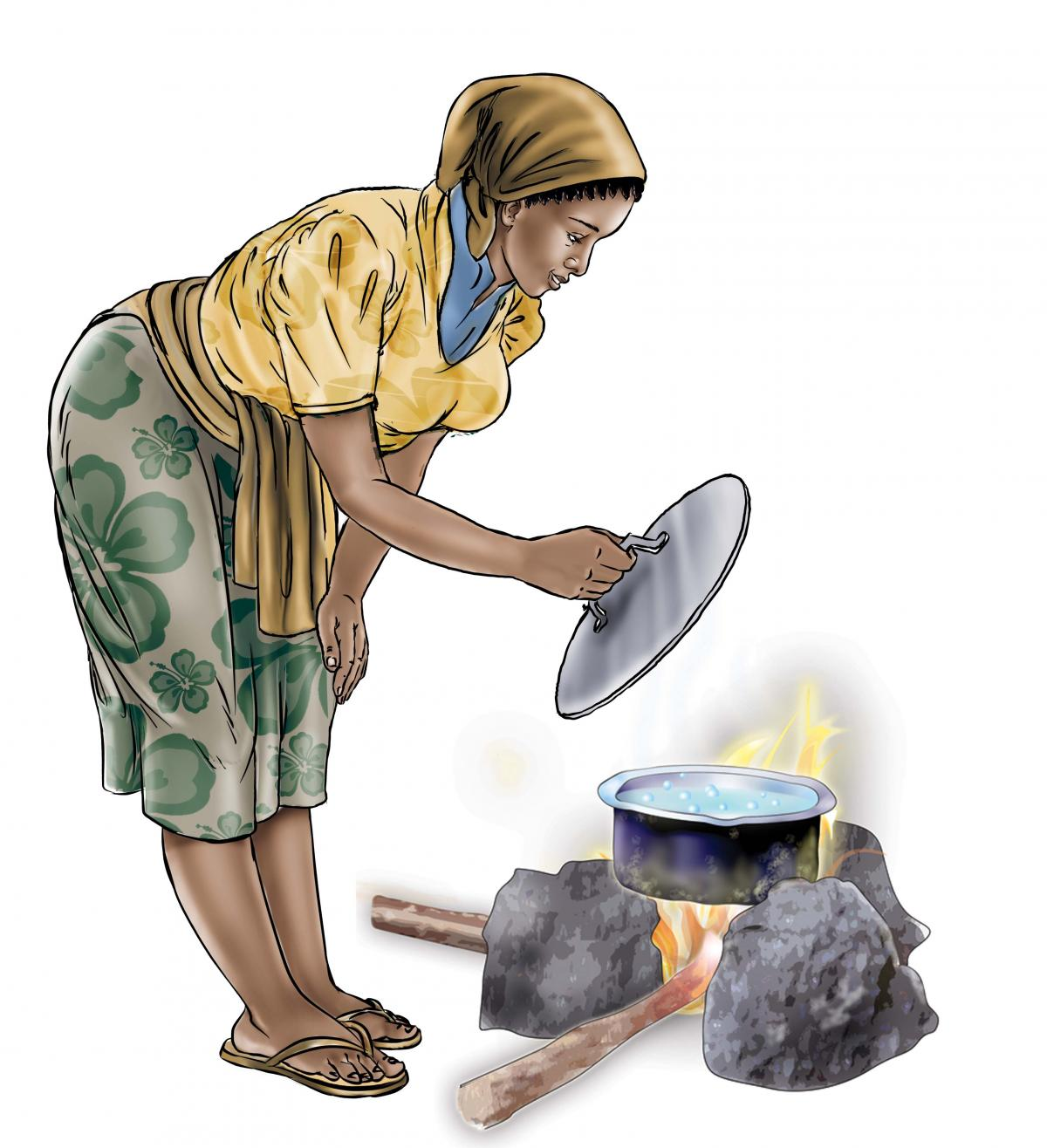 Hygiene - Mother boiling water - 03 - Sierra Leone