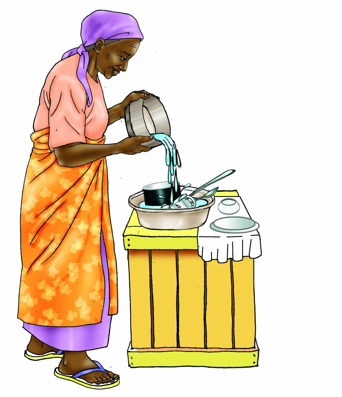 Sanitation - Grandmother washing dishes - 01 - Generic