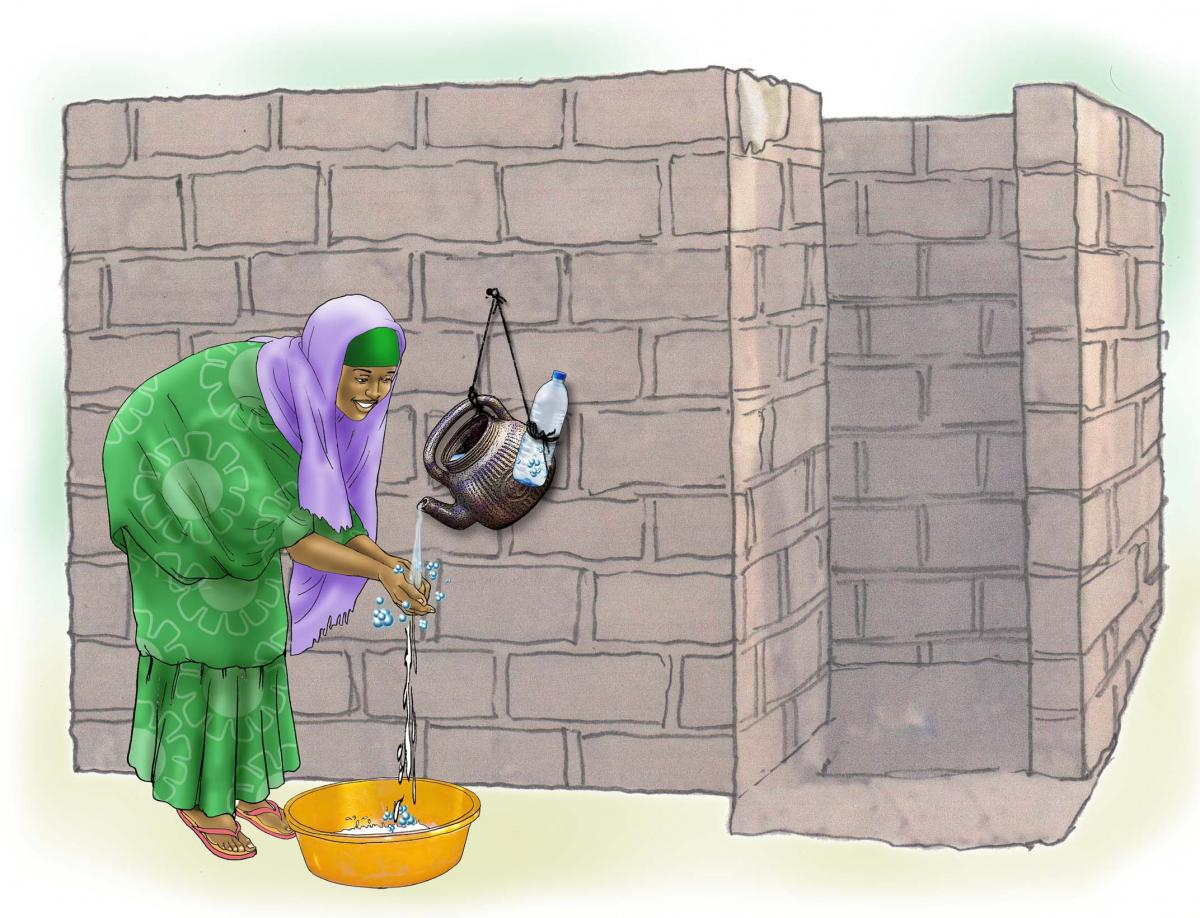 Sanitation - Woman washing hands - 02 - Niger