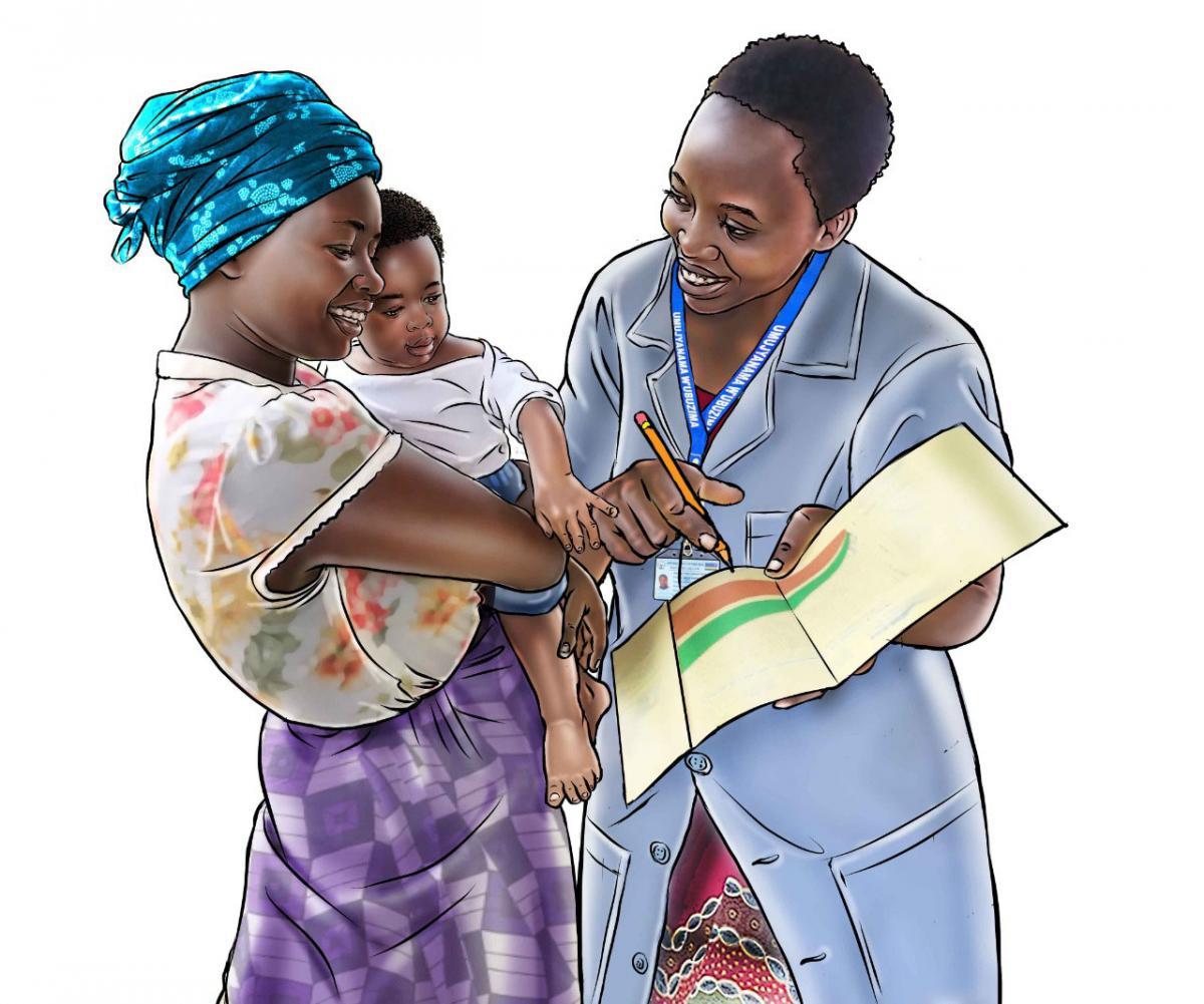 Child Health Care - Community health worker explaining growth chart - 07 - Rwanda