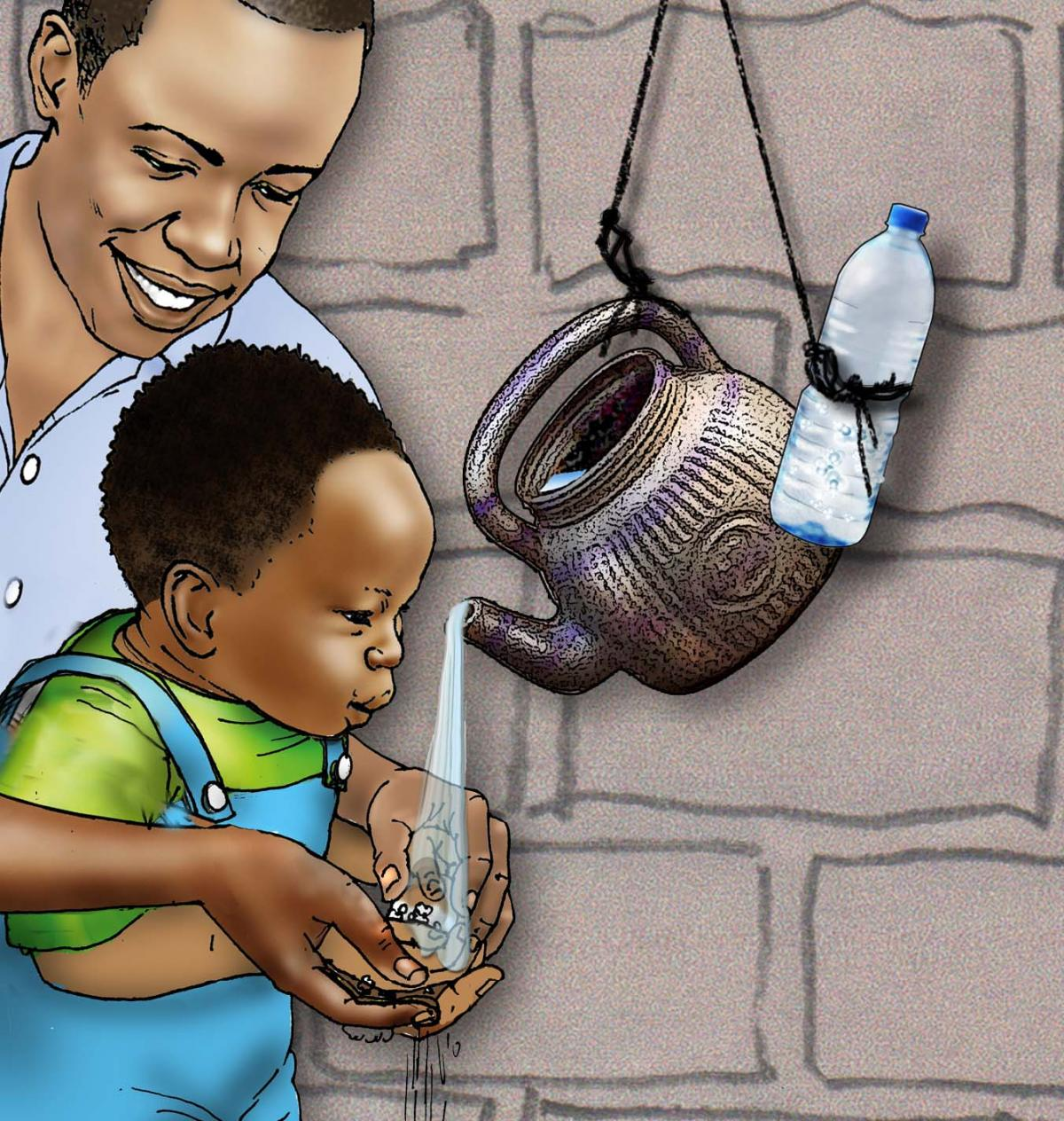 Father Support - Father washing baby's hands - 03A - Niger