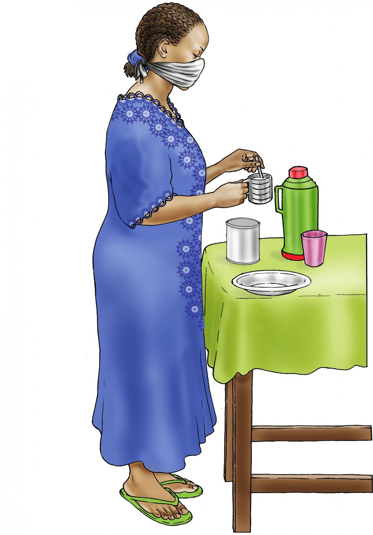 Cup Feeding - Preparing infant formula - 04 - COVID