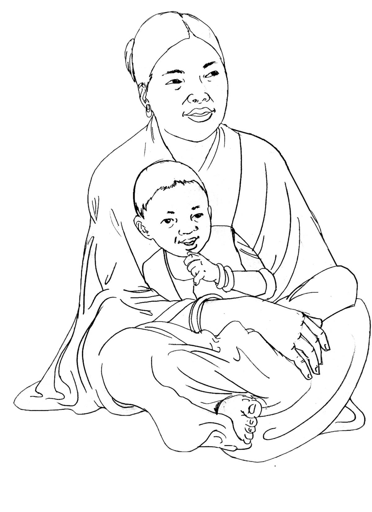 People - Woman and child sitting - 02 - India