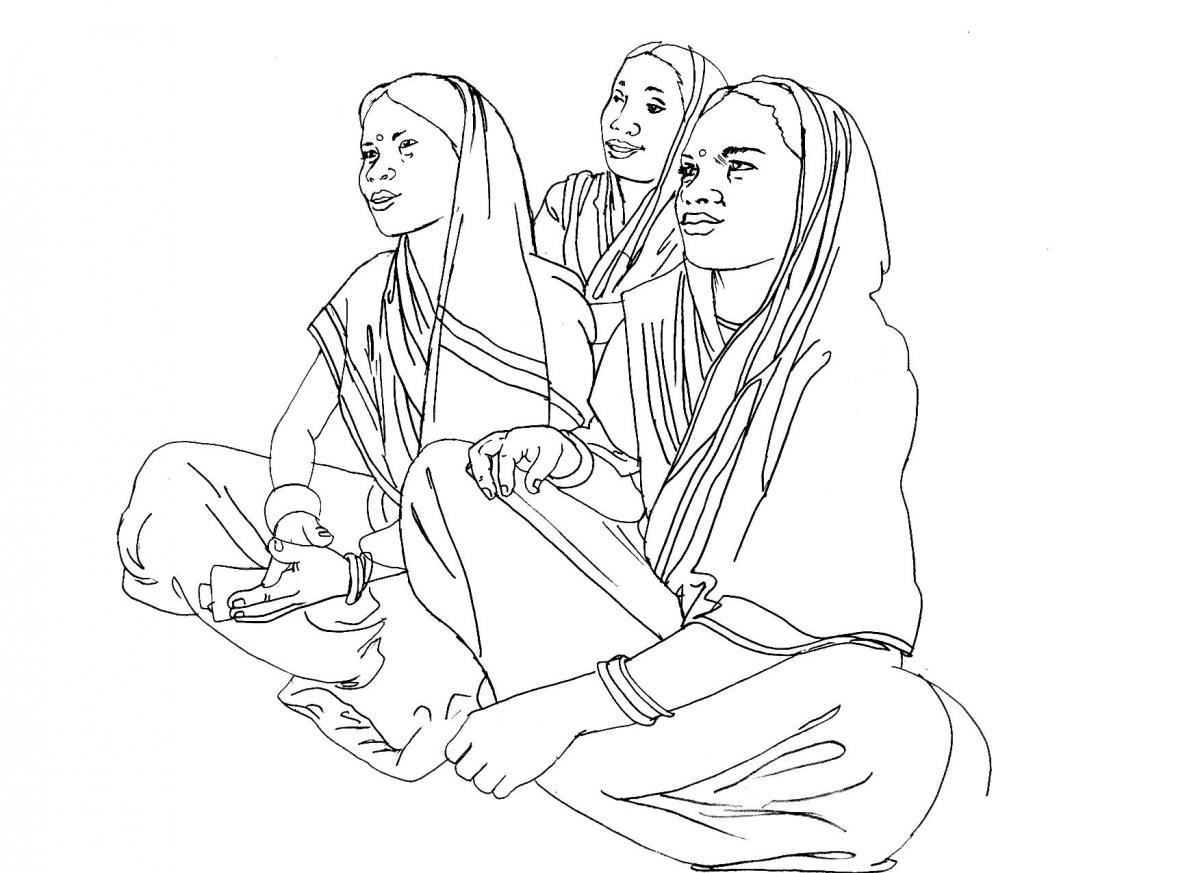 People - Three women sitting - 04 - India