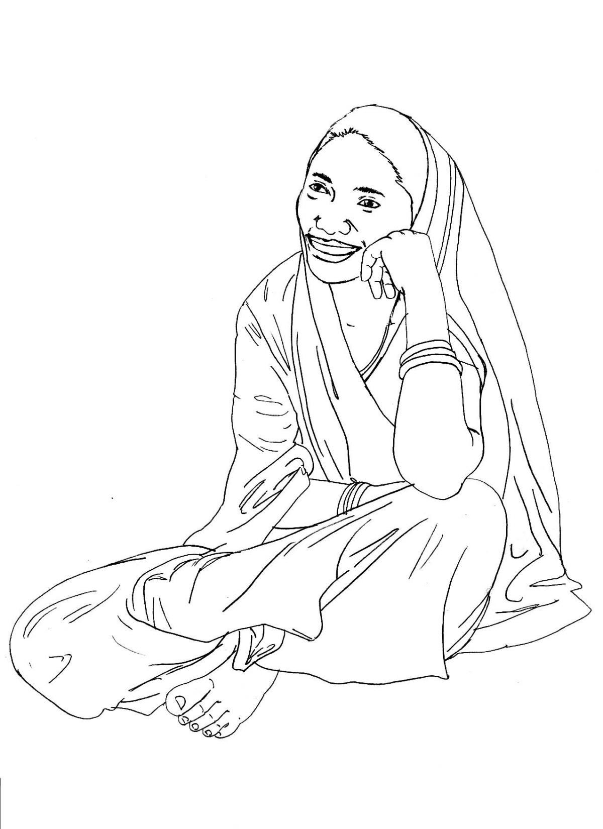 People - Woman sitting - 06 - India