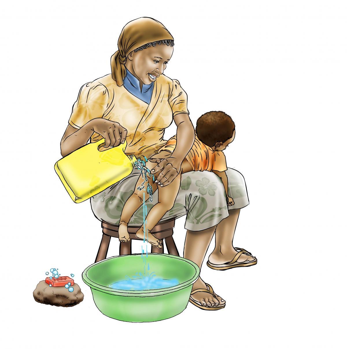 Hygiene - Washing baby's bottom - 01 - Sierra Leone