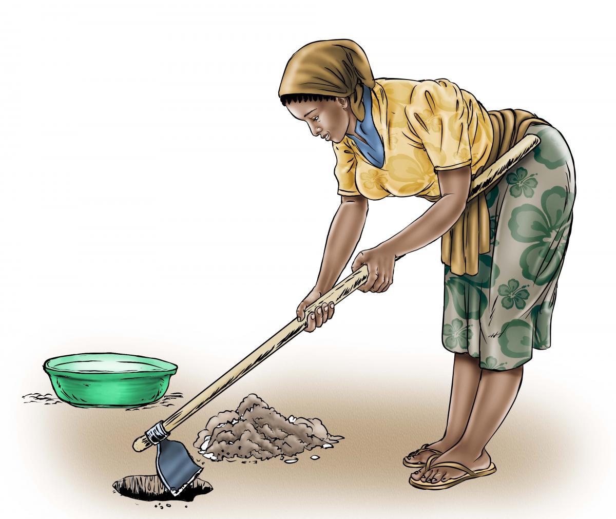 Sanitation - Mother digging a hole - 02 - Sierra Leone