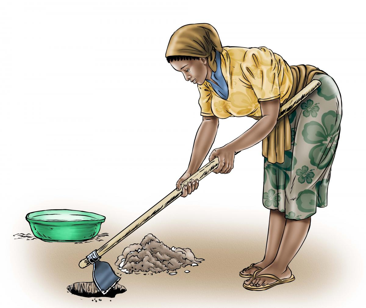 Sanitation - Mother digging a hole - 02 - Sierra Leone