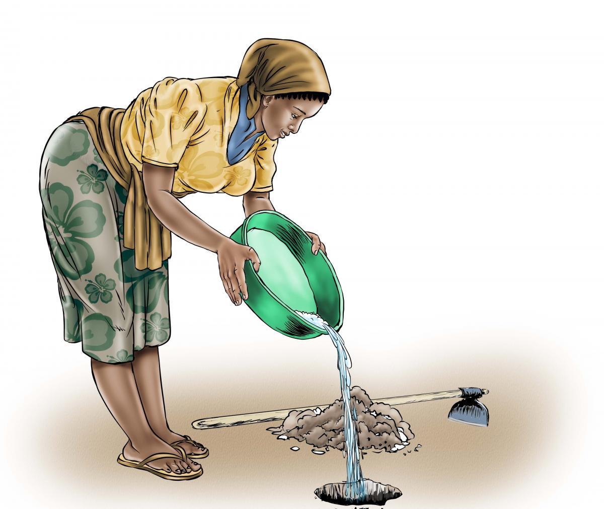 Sanitation - Depositing waste in hole - 03A - Sierra Leone