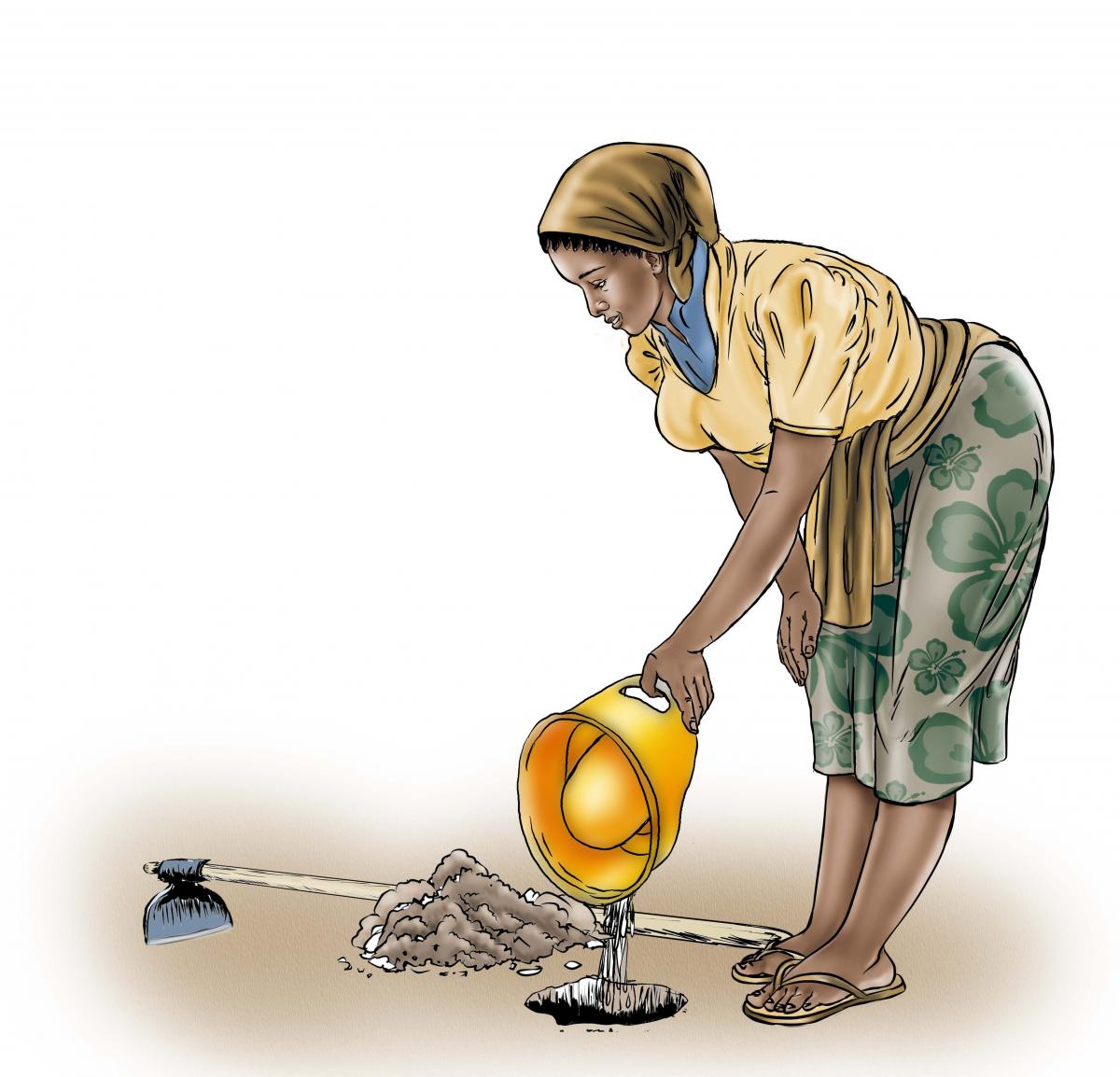 Sanitation - Depositing waste in hole - 03B - Sierra Leone