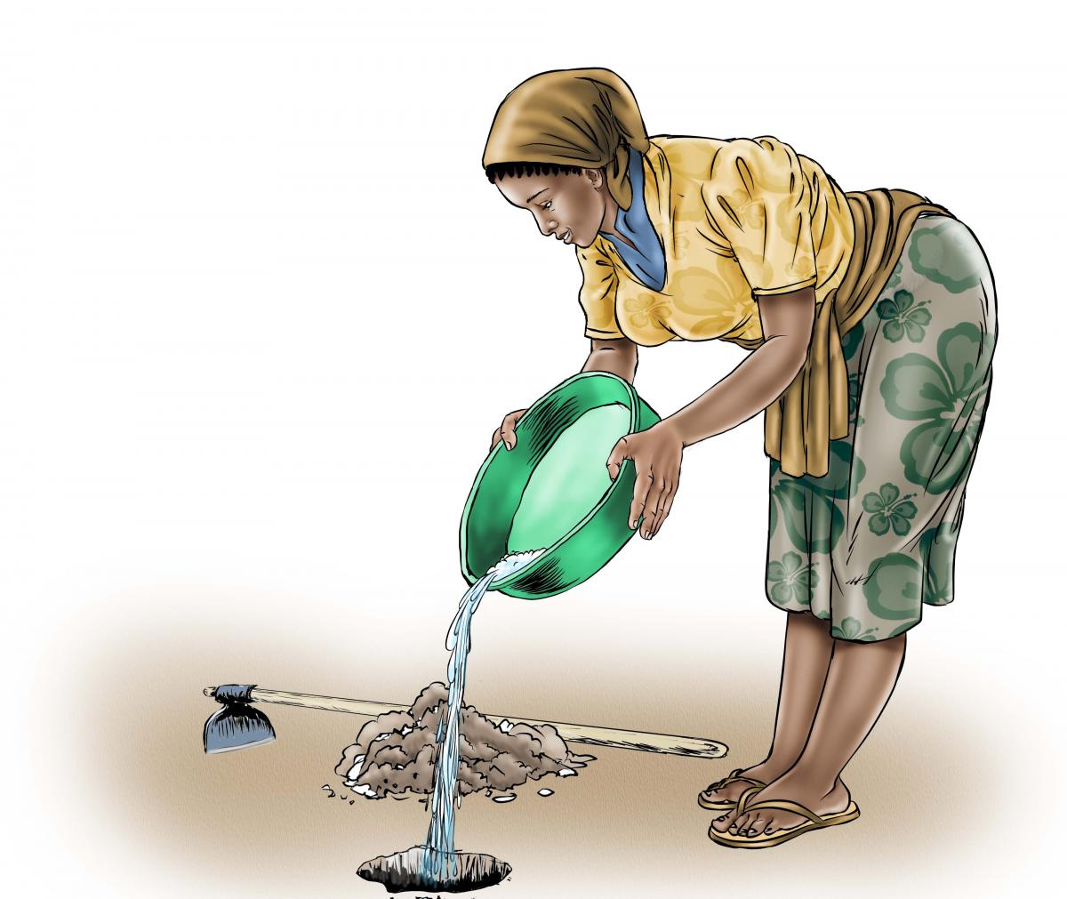 Sanitation - Depositing waste in hole - 03C - Sierra Leone