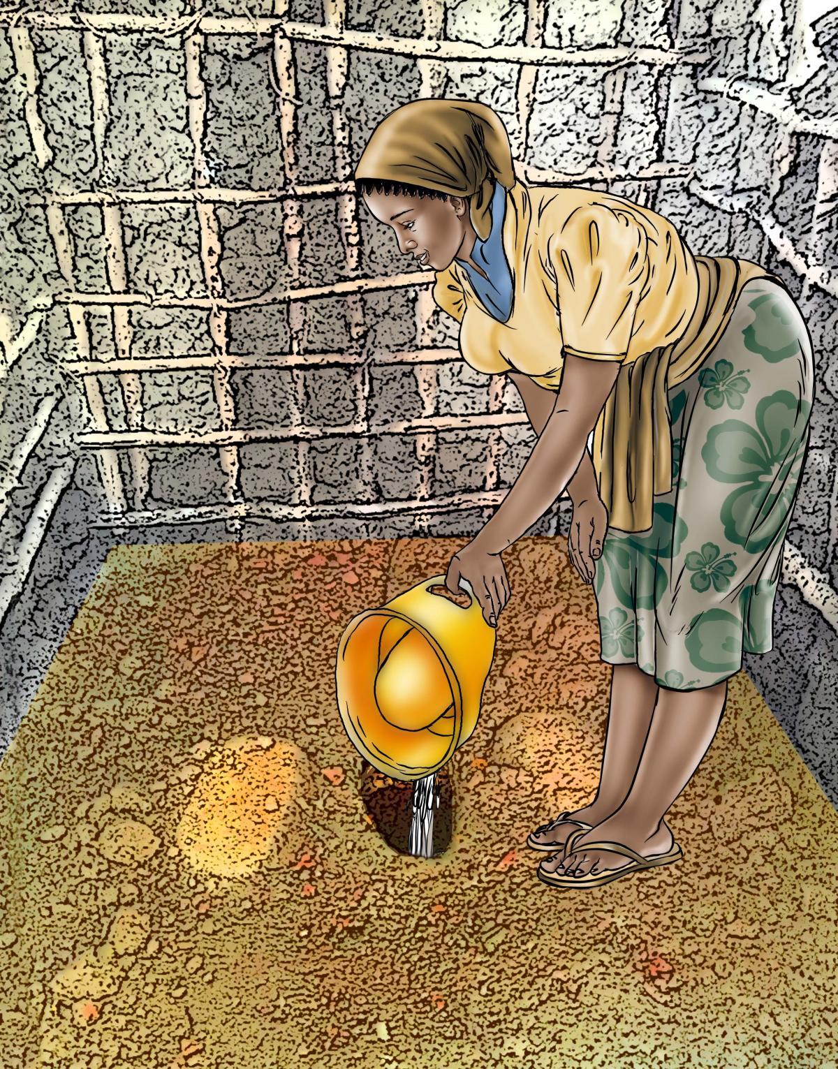 Sanitation - Depositing waste in latrine - 04A - Sierra Leone