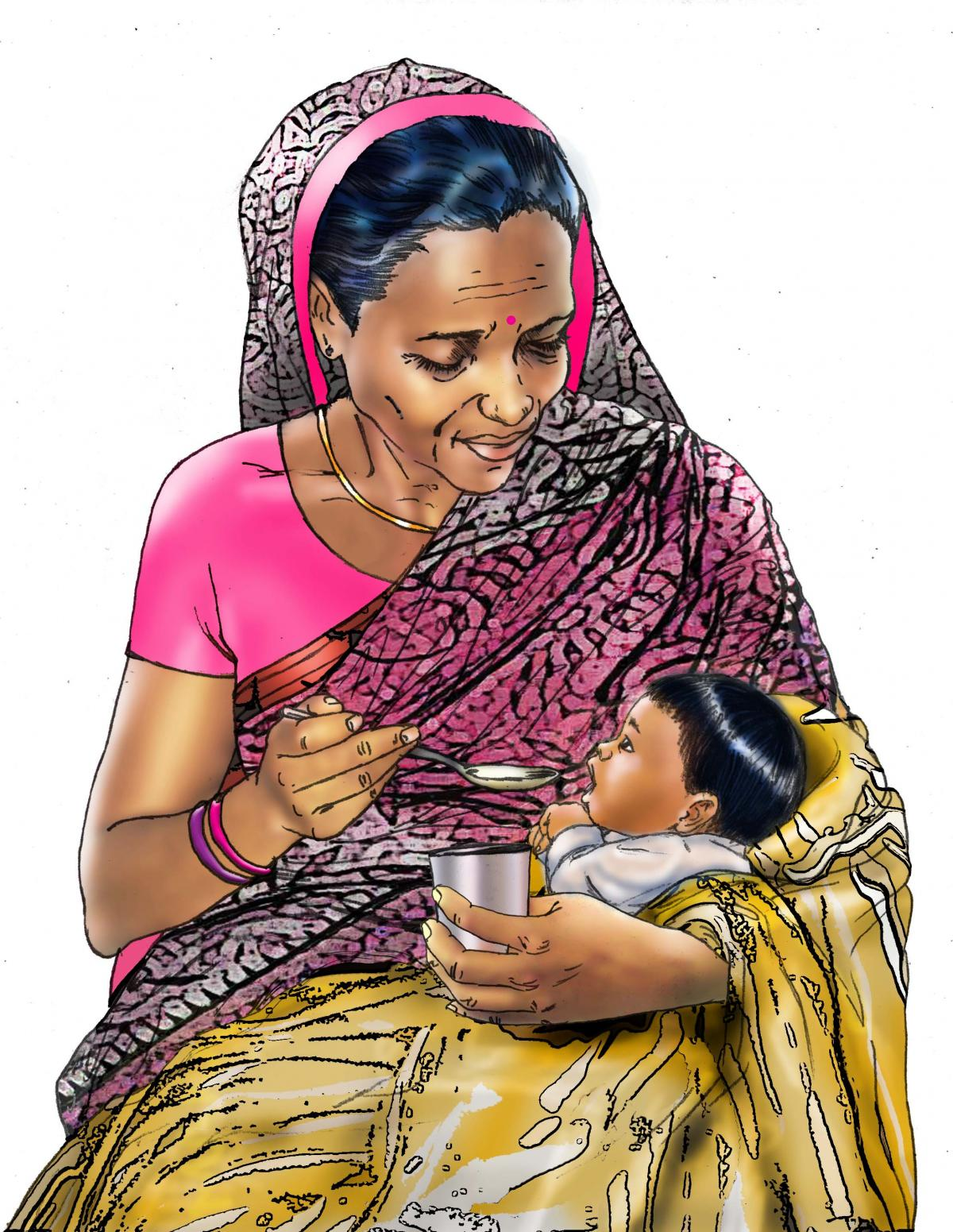 Cup feeding - Grandmother support for cup feeding - 03 - India