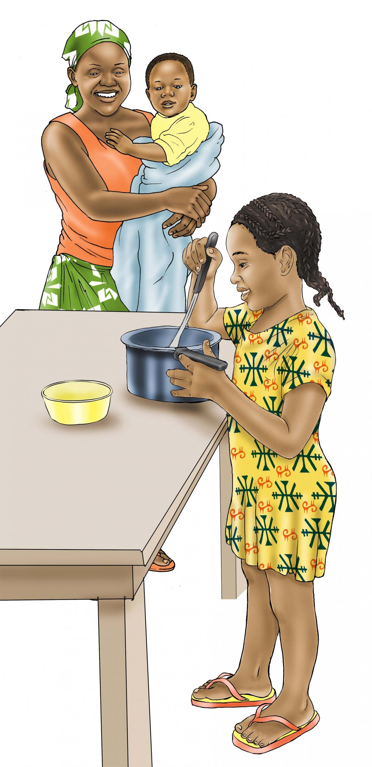 Family - Little girl cooking - 00 - Nigeria