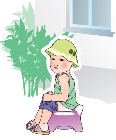 Sanitation - Young child defecating in a potty  - 02 - Kyrgyz Republic