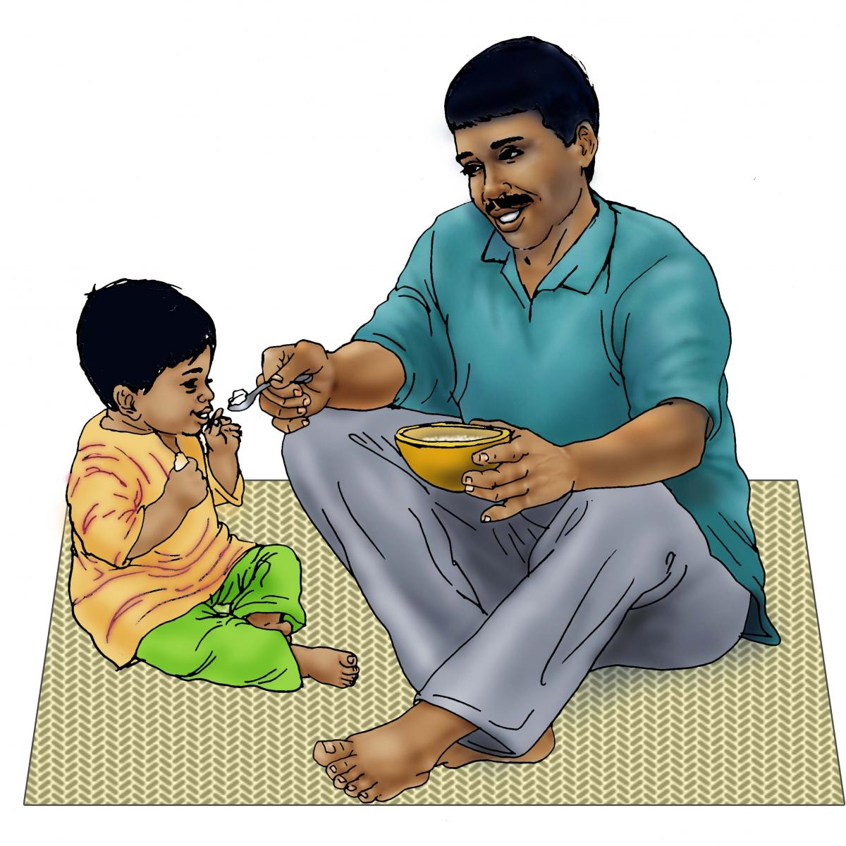 Complementary feeding - Father feeding child 12-24 mo - 01 - India