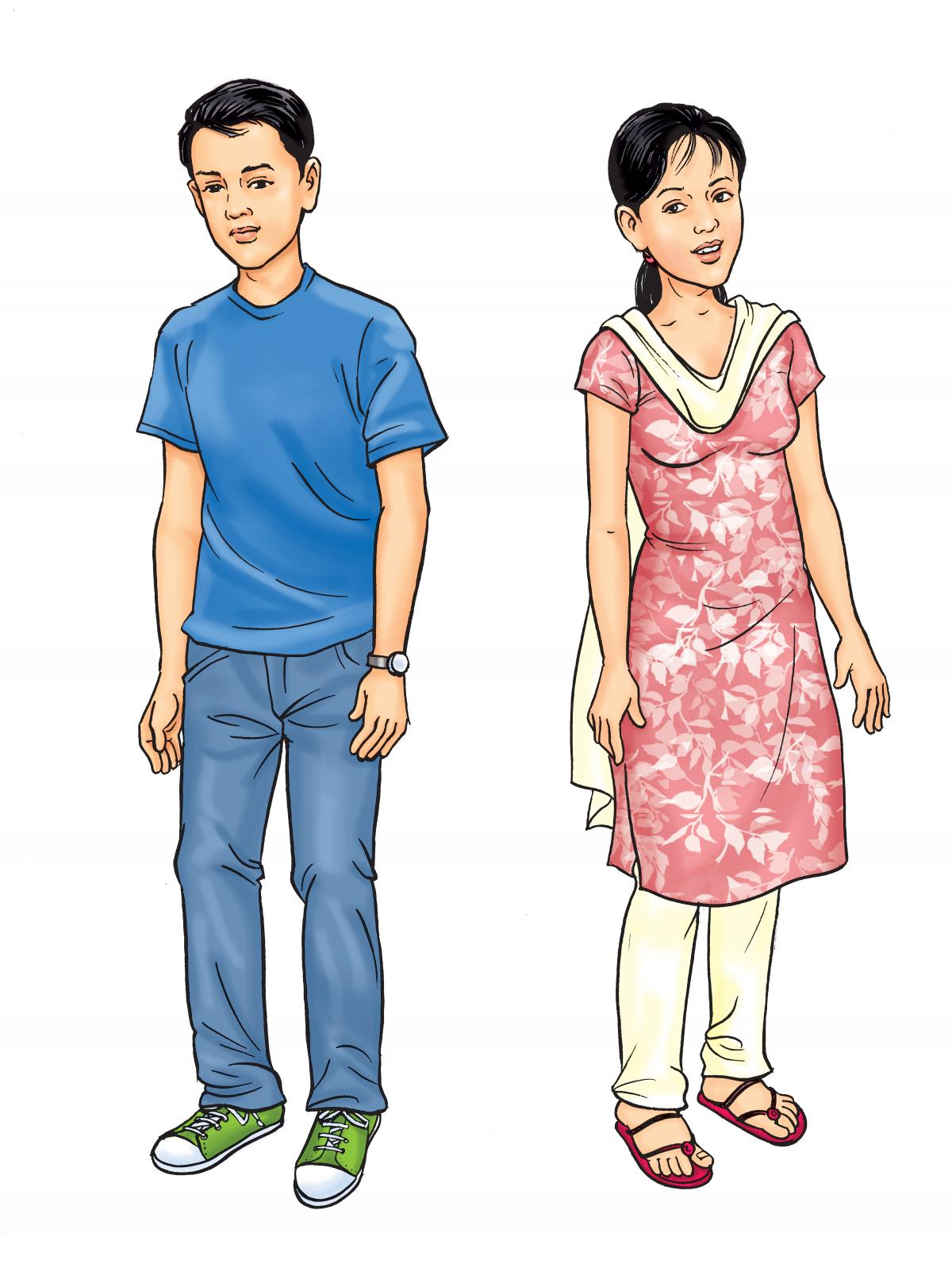 People - Adolescent boy and girl - 01A - Nepal